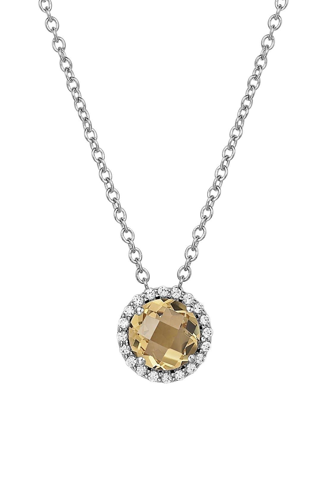 Birthstone Halo Pendant Necklace,                         Main,                         color, November Citrine / Silver