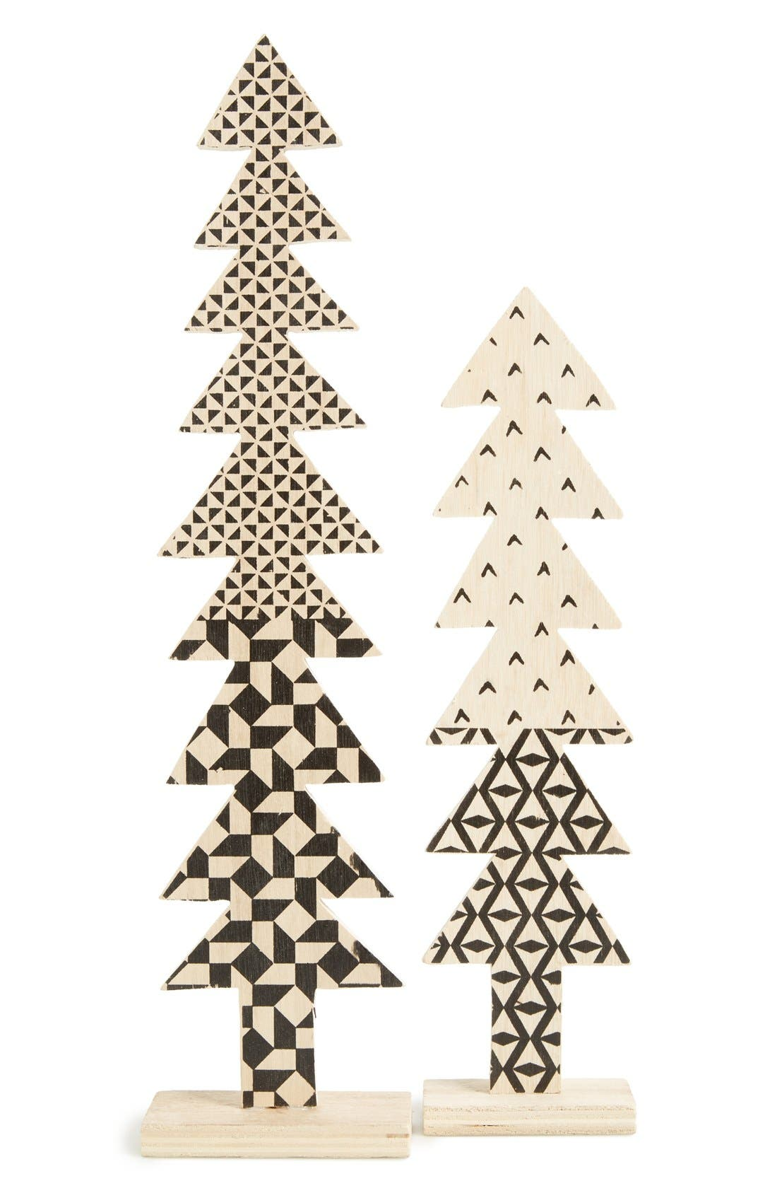 Wooden Christmas Tree Decoration,                         Main,                         color, Natural/ Black