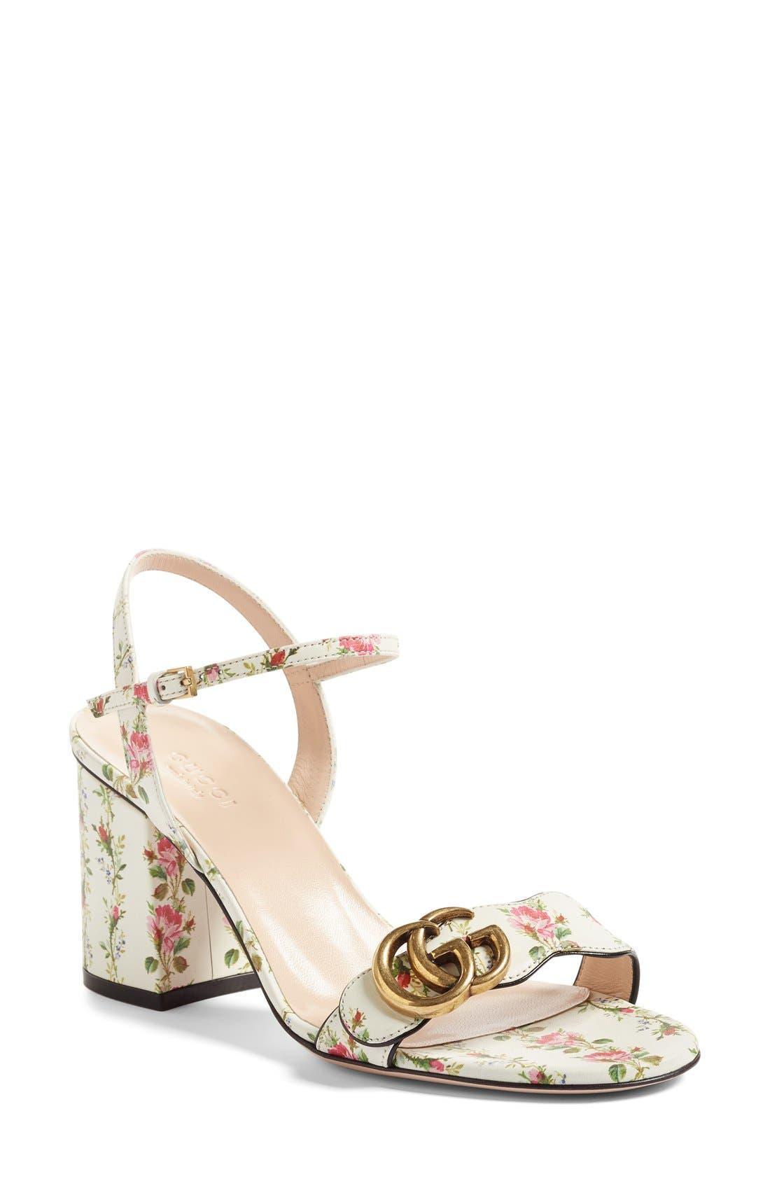 GG Marmont Block Heel Sandal,                             Main thumbnail 1, color,                             White Floral