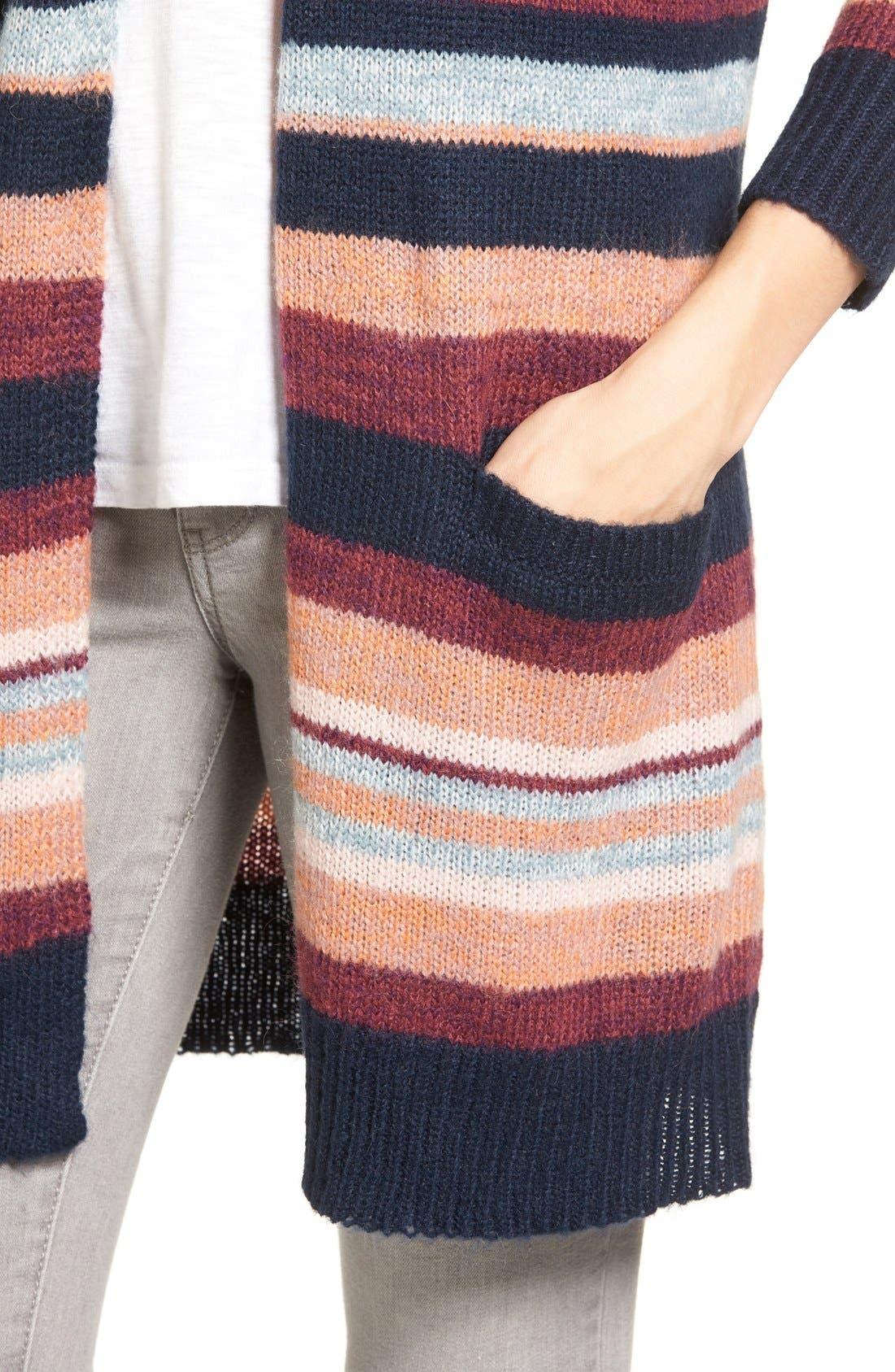 Alternate Image 4  - Caslon® Long Stripe Cardigan
