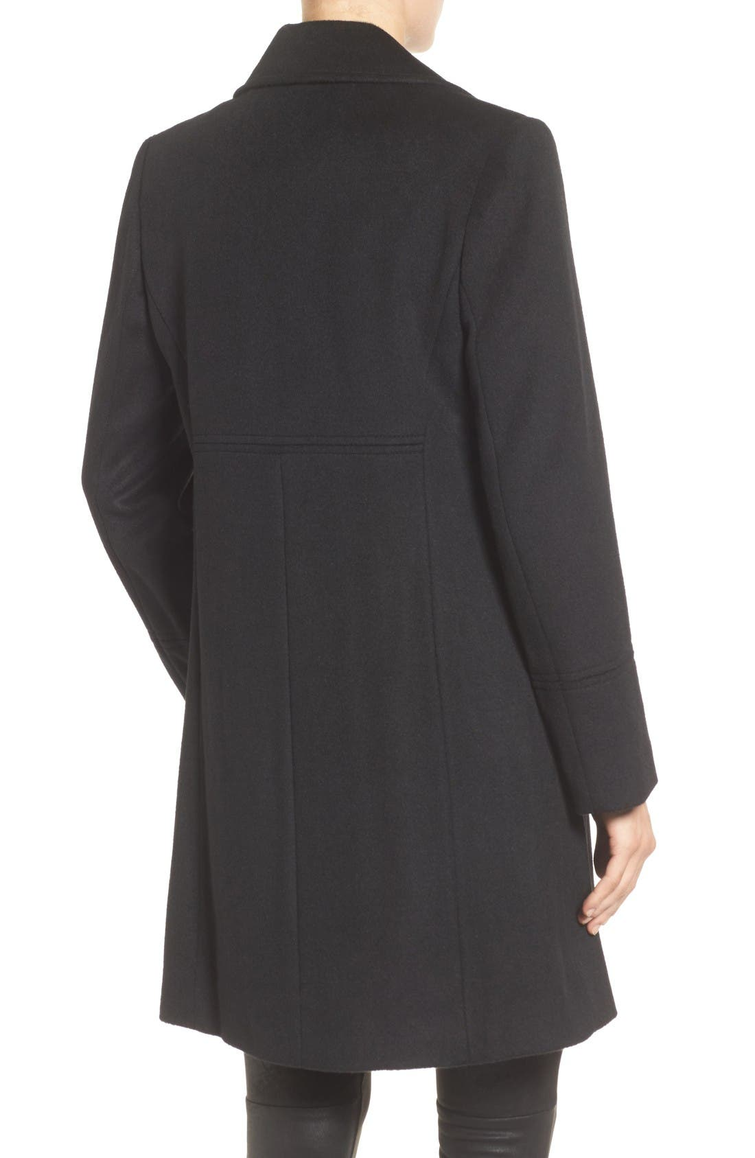 Notch Collar Wool Blend Coat,                             Alternate thumbnail 2, color,                             Black