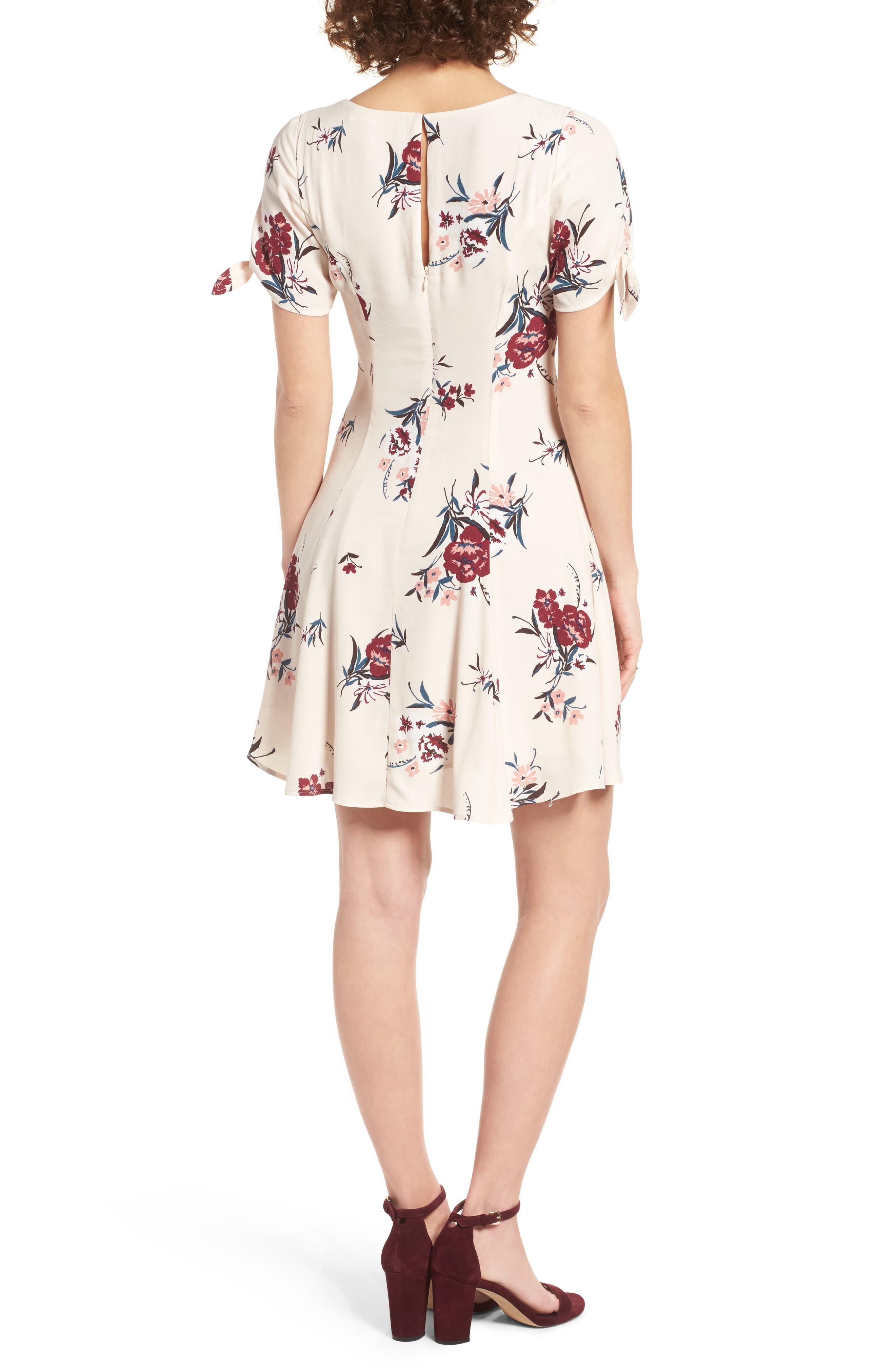 Tie Sleeve Dress,                             Alternate thumbnail 3, color,                             Blush Multi Floral