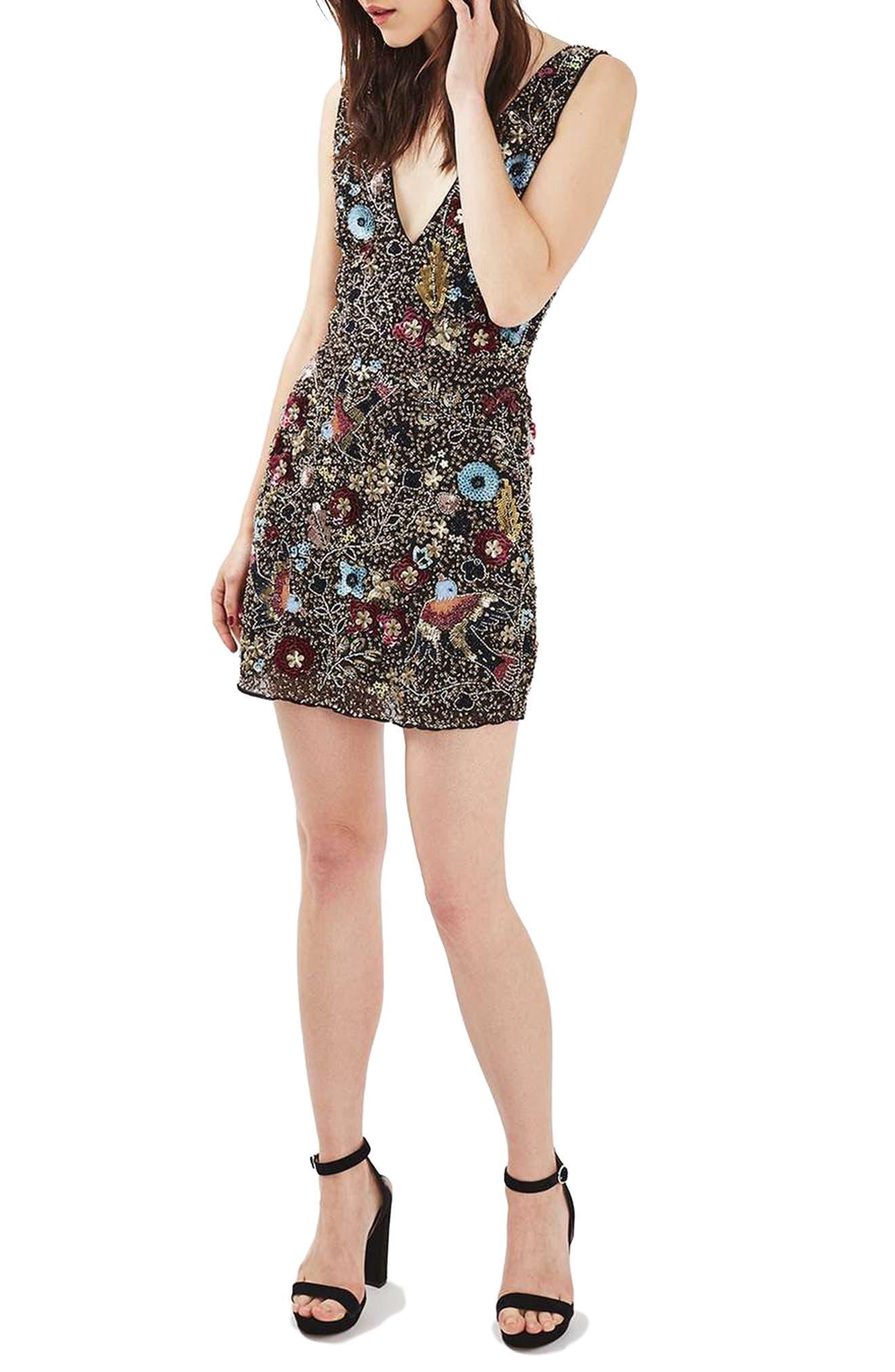 Alternate Image 1 Selected - Topshop Bird Embellished Minidress
