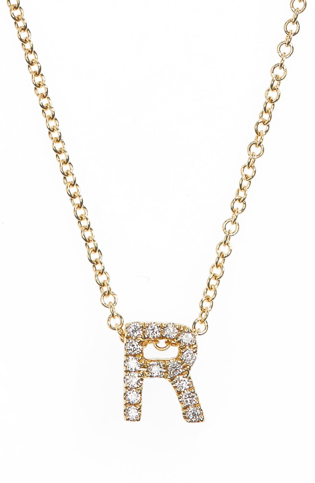 18k Gold Pavé Diamond Initial Pendant Necklace,                         Main,                         color, Yellow Gold - R