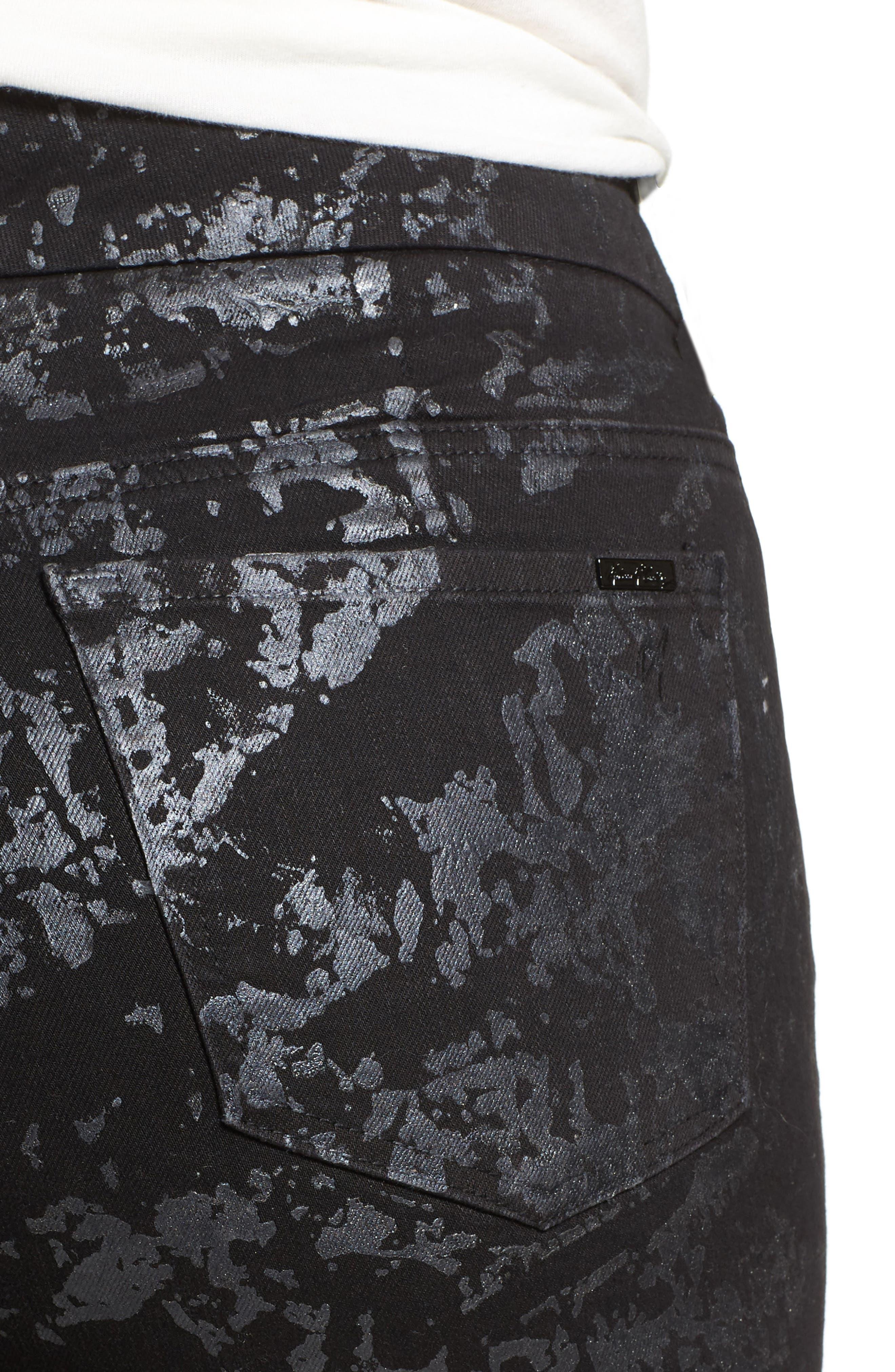 Stretch Foil Print Pencil Jeans,                             Alternate thumbnail 4, color,                             Quartz