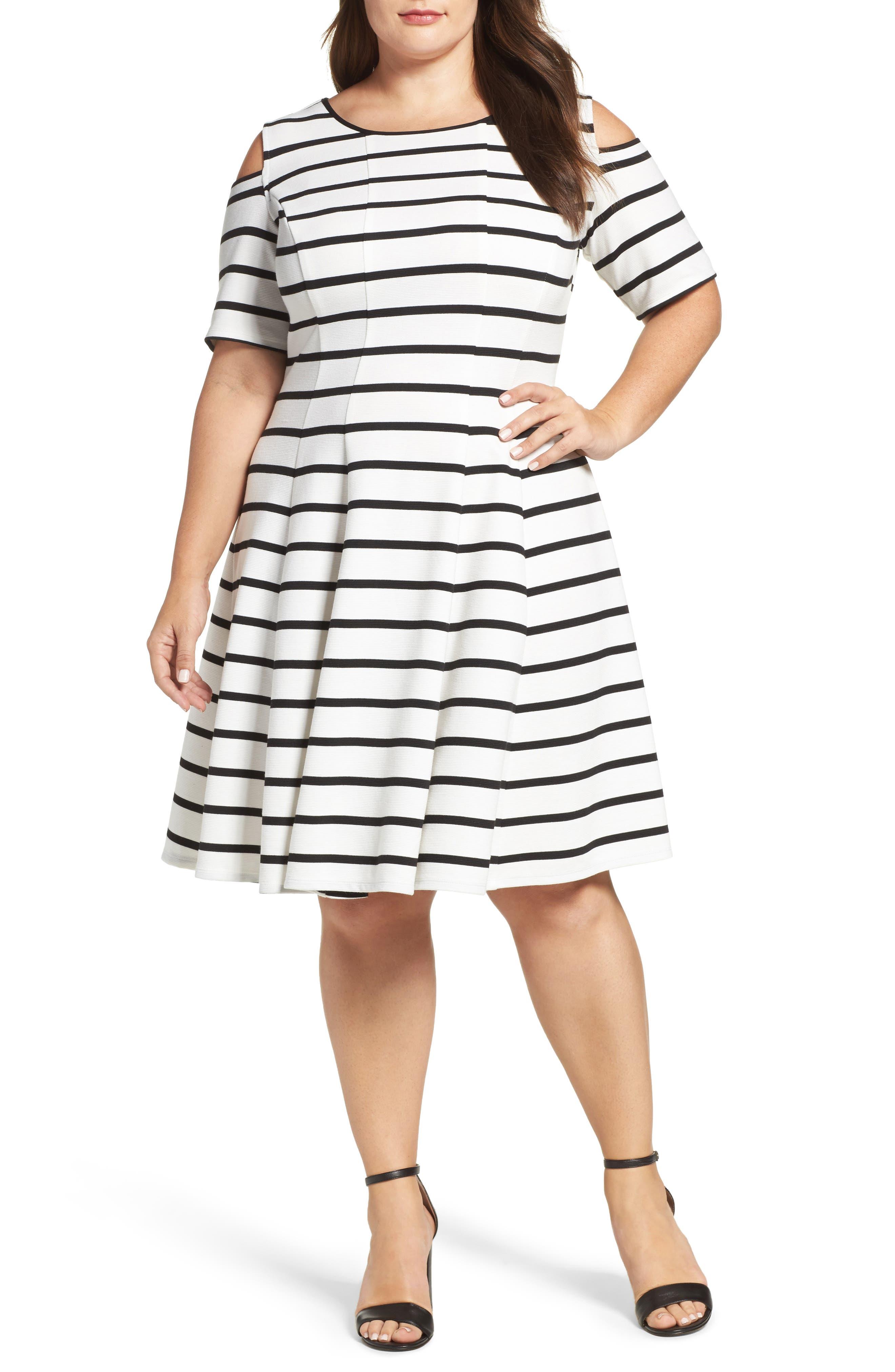 Main Image - Gabby Skye Cold Shoulder Fit & Flare Dress (Plus Size)