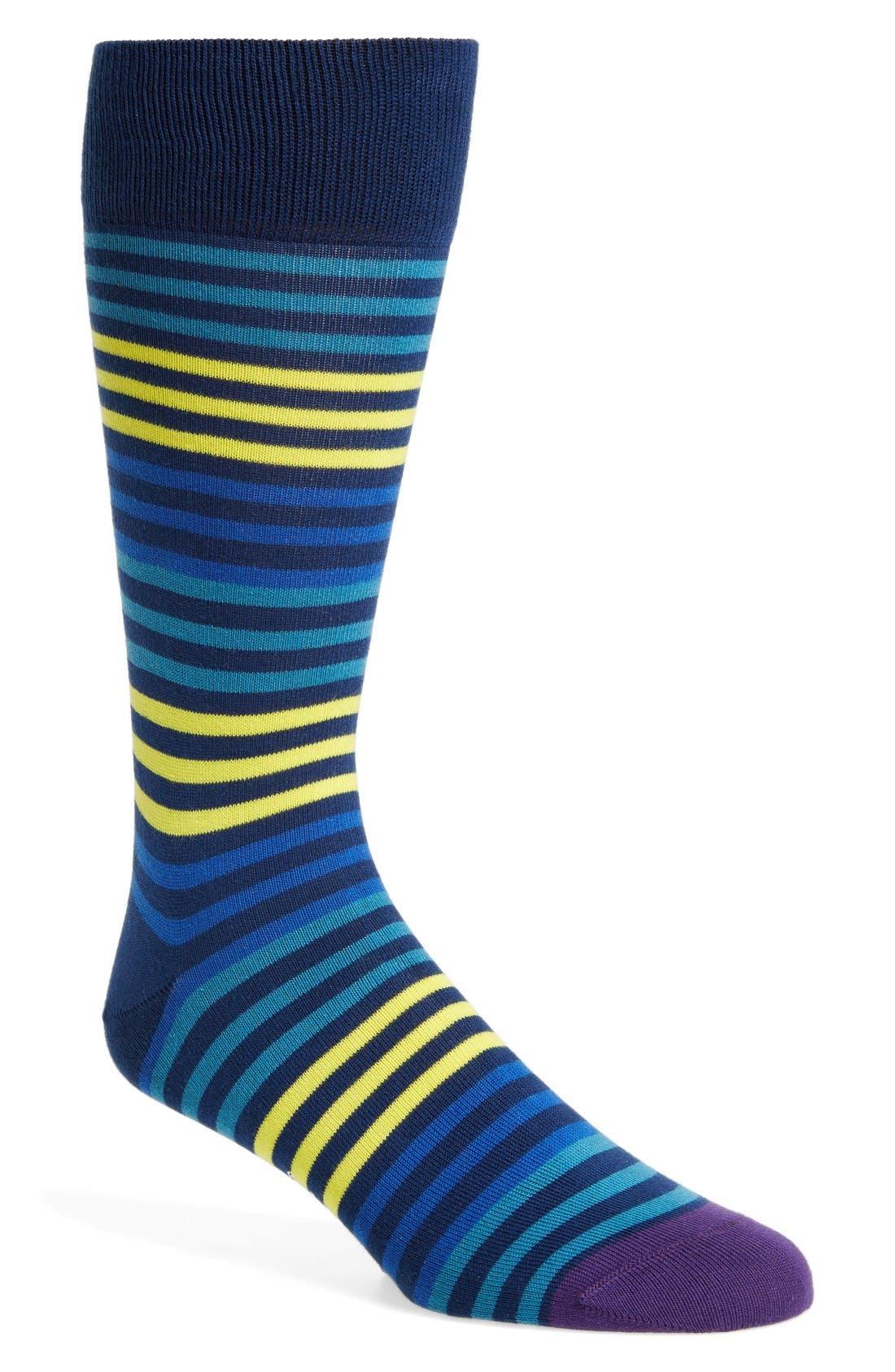Sanny Stripe Socks,                         Main,                         color, Navy