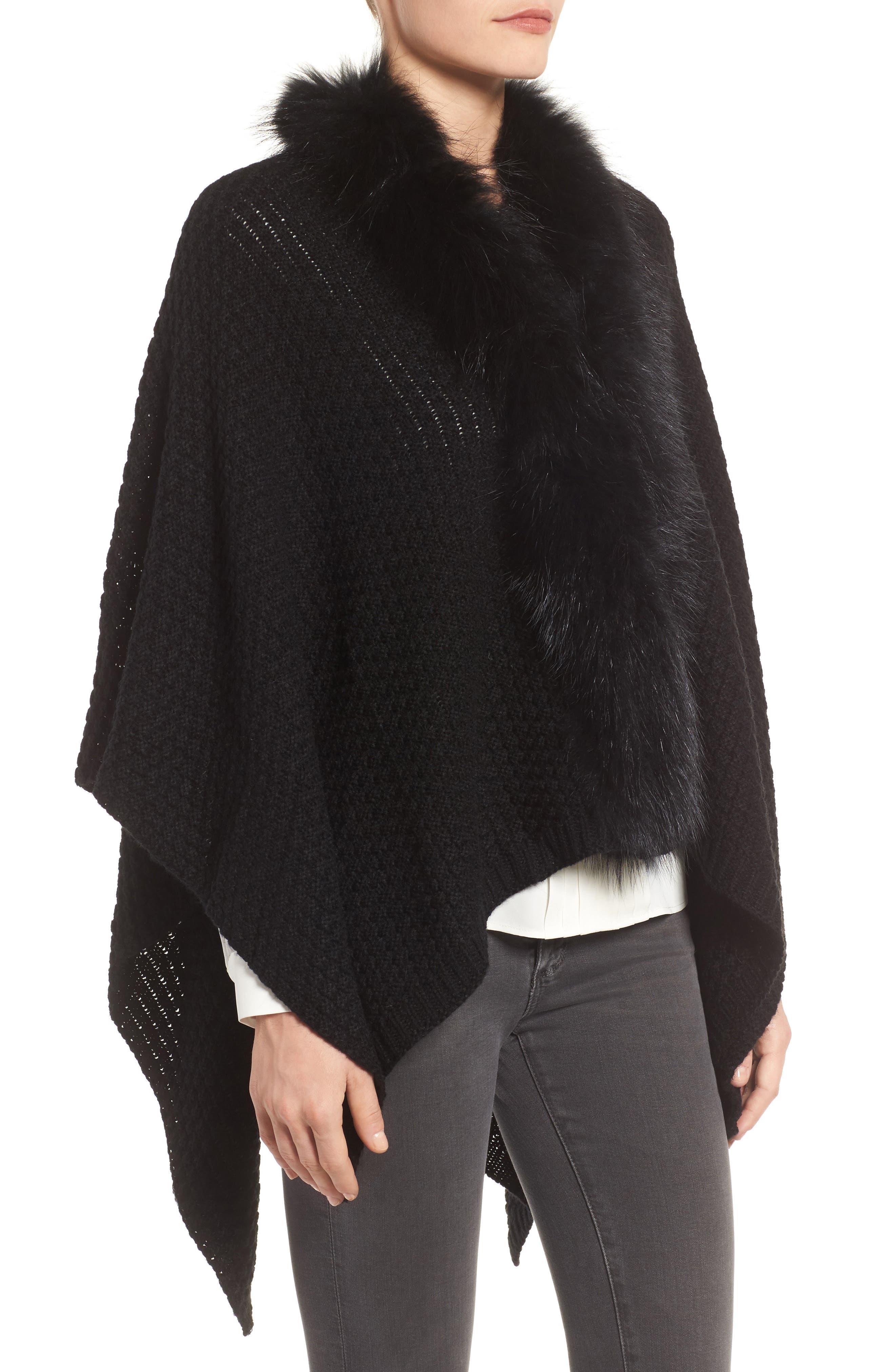 Genuine Raccoon Fur Trim Wrap,                             Alternate thumbnail 3, color,                             Black
