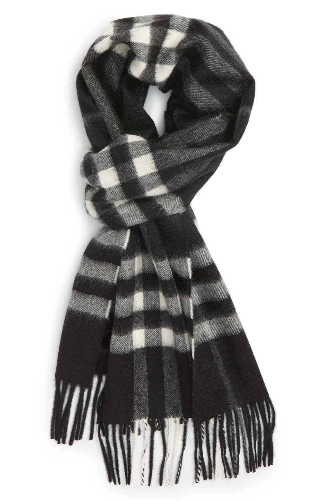 'Giant Icon' Cashmere Scarf,                         Main,                         color, Black Check