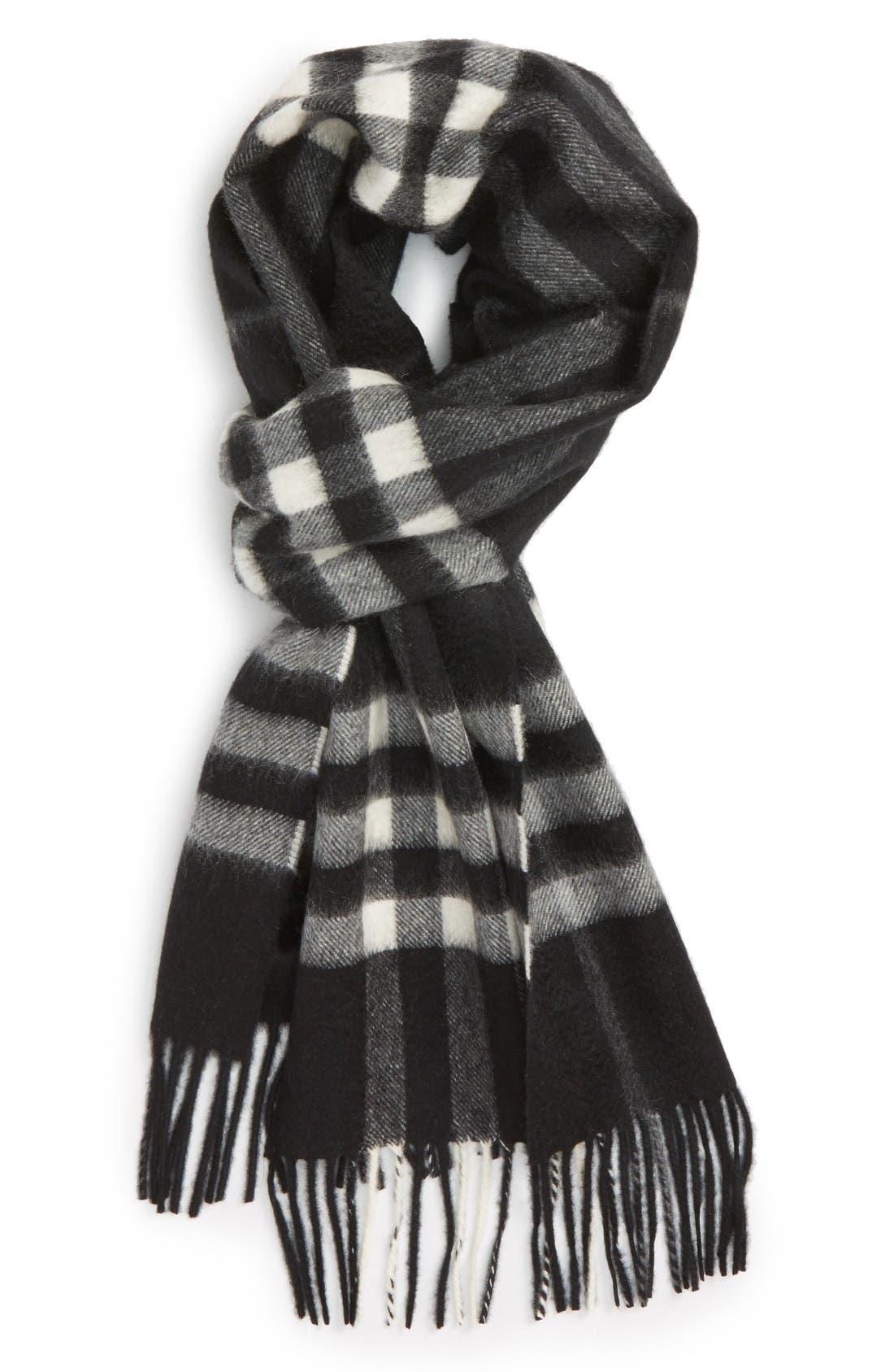 'Giant Icon' Cashmere Scarf,                         Main,                         color, Black Check
