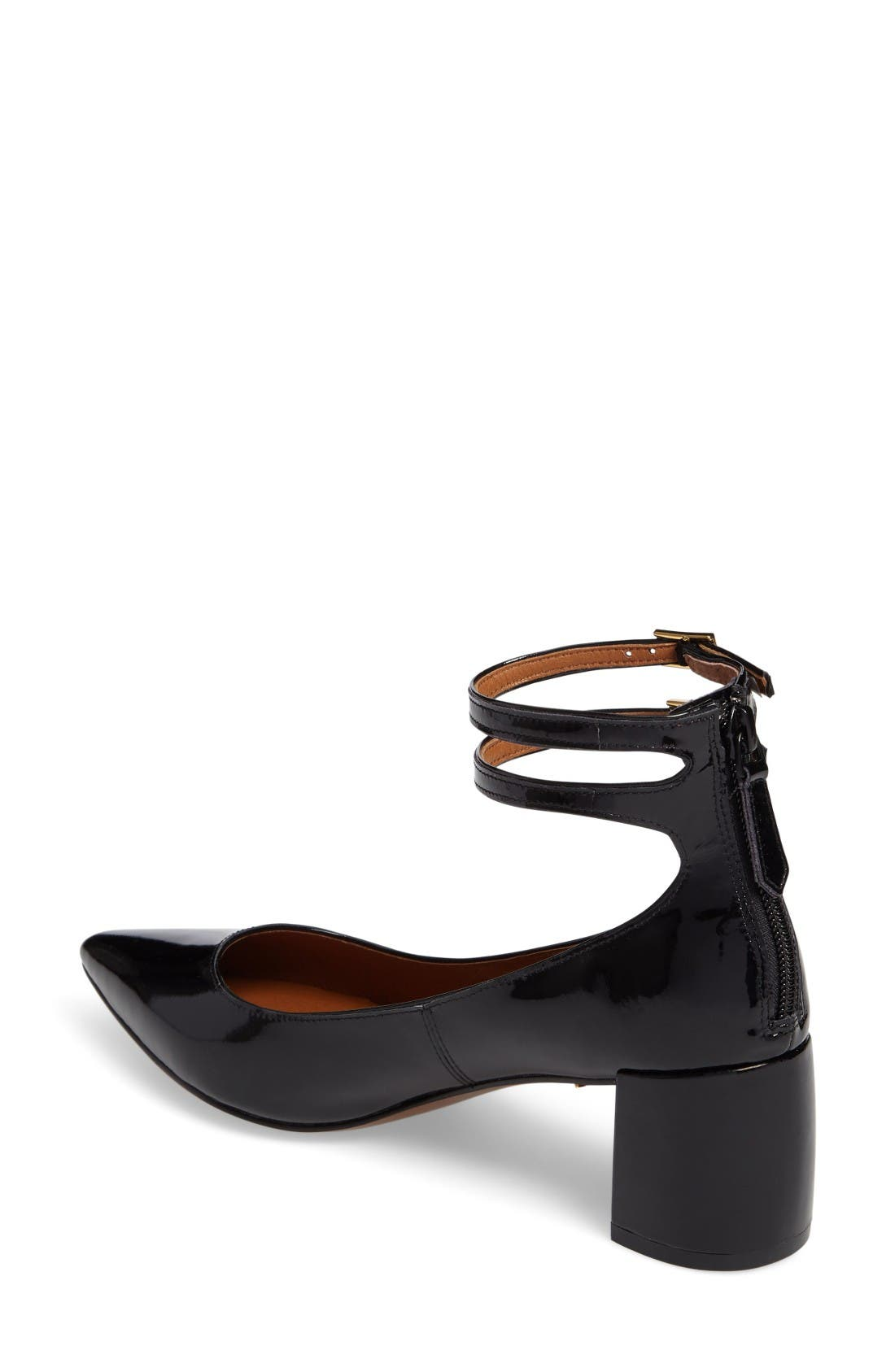 'Noel' Pointy Toe Ankle Strap Pump,                             Alternate thumbnail 2, color,                             Black Patent Leather