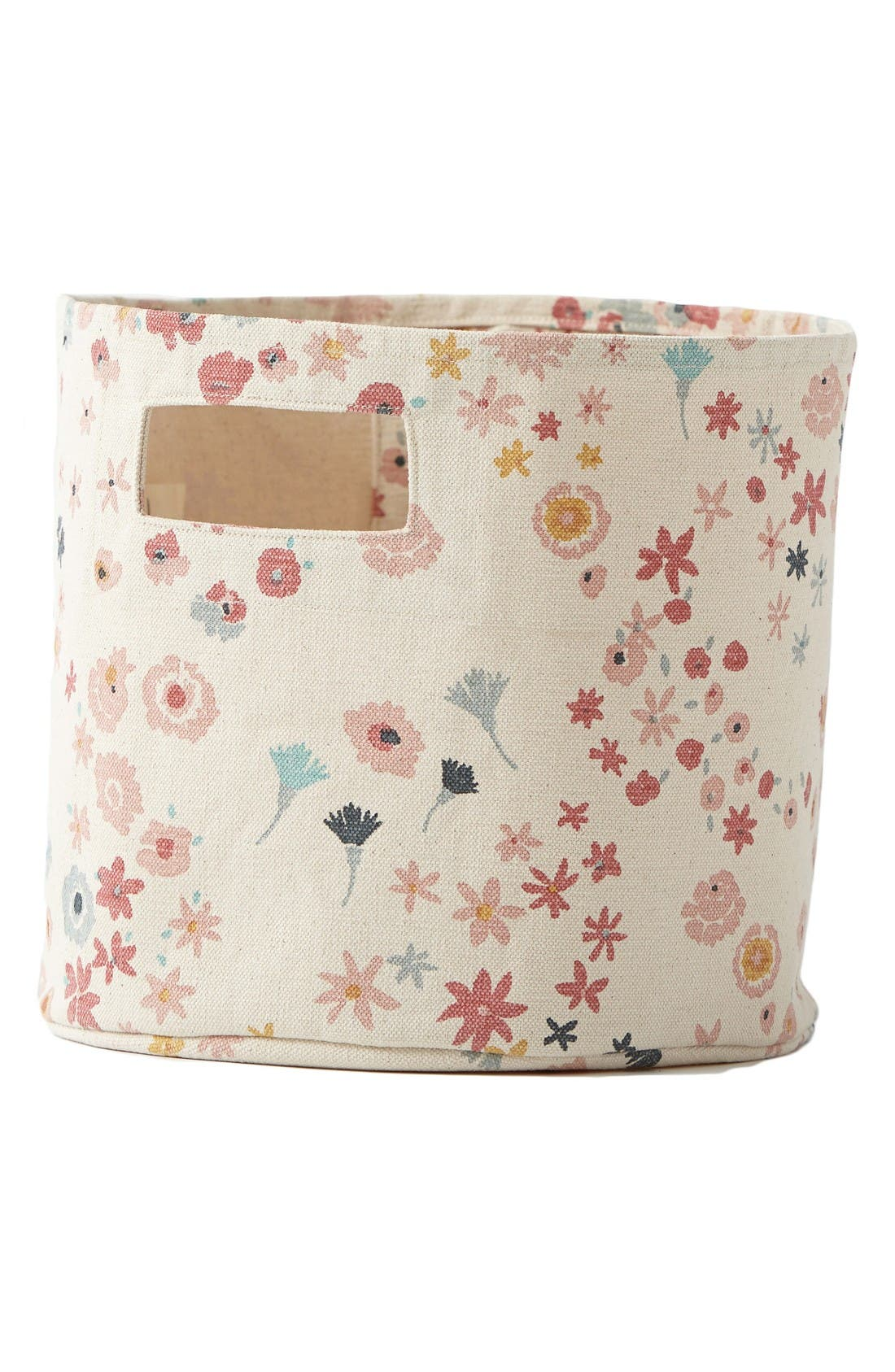 Meadow Pint Print Canvas Bin,                             Main thumbnail 1, color,                             Pink