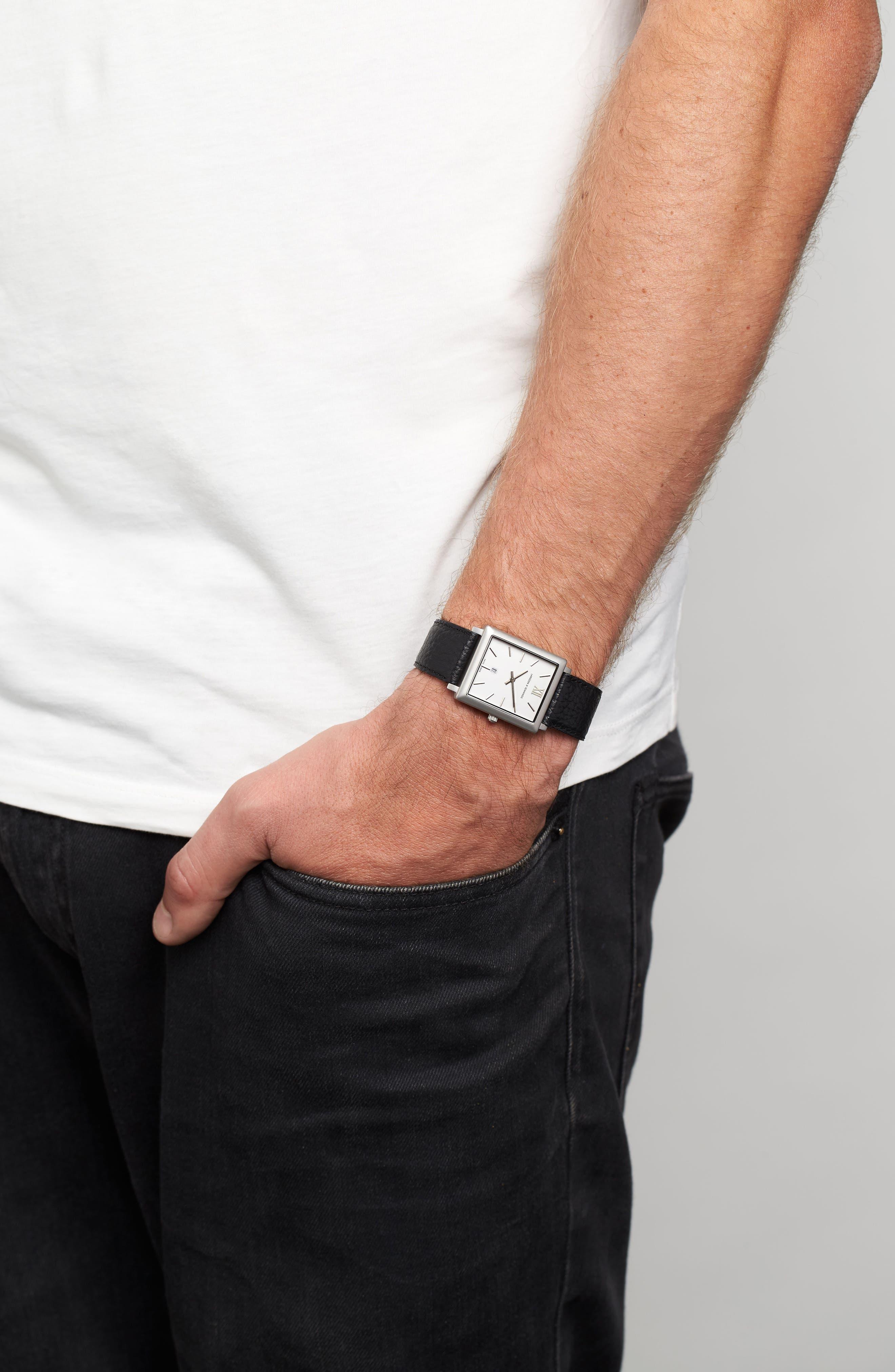 Alternate Image 7  - Larsson & Jennings 'Norse' Rectangular Leather Strap Watch, 29mm x 40mm