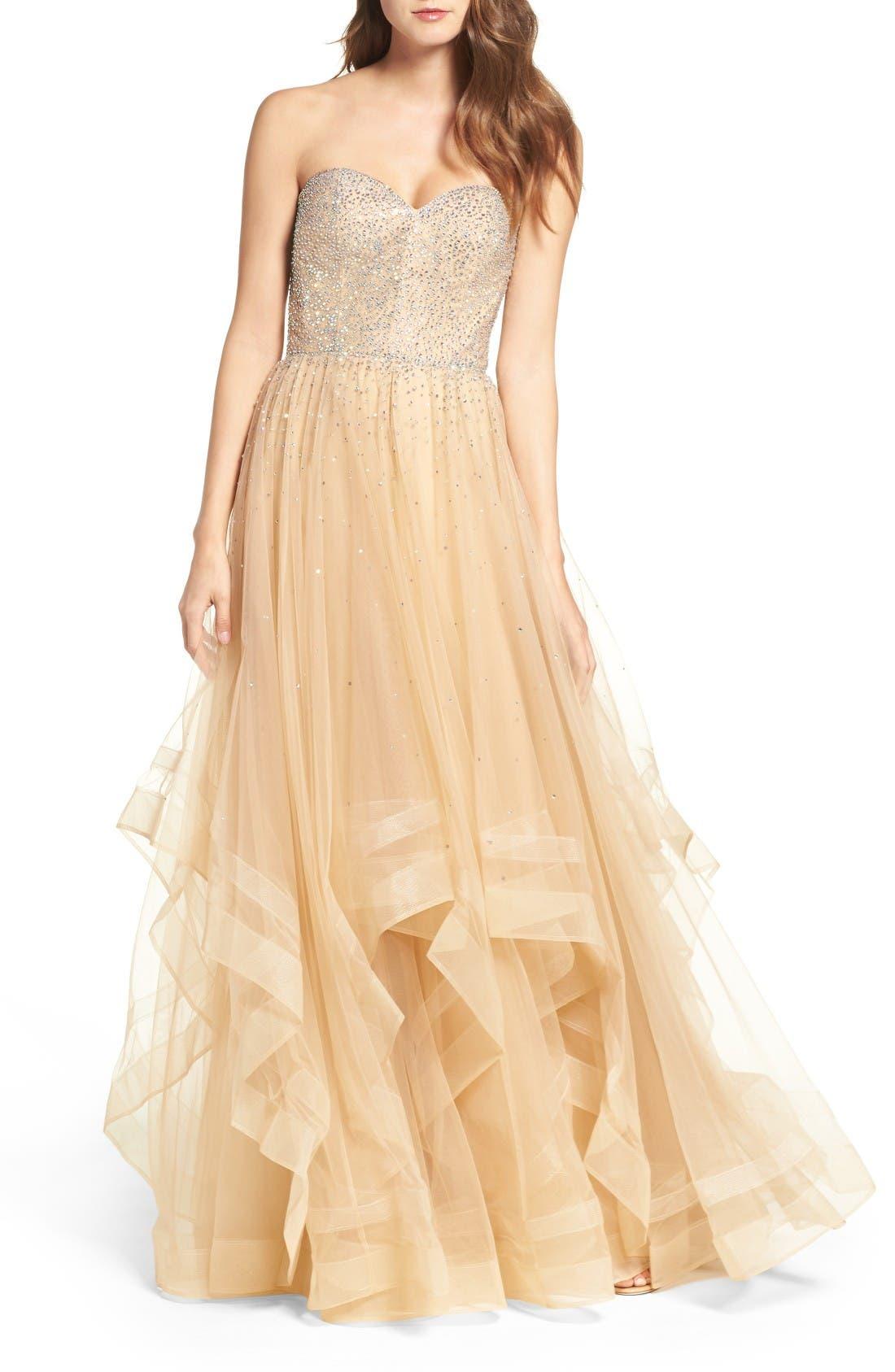 La Femme Embellished Strapless Ballgown