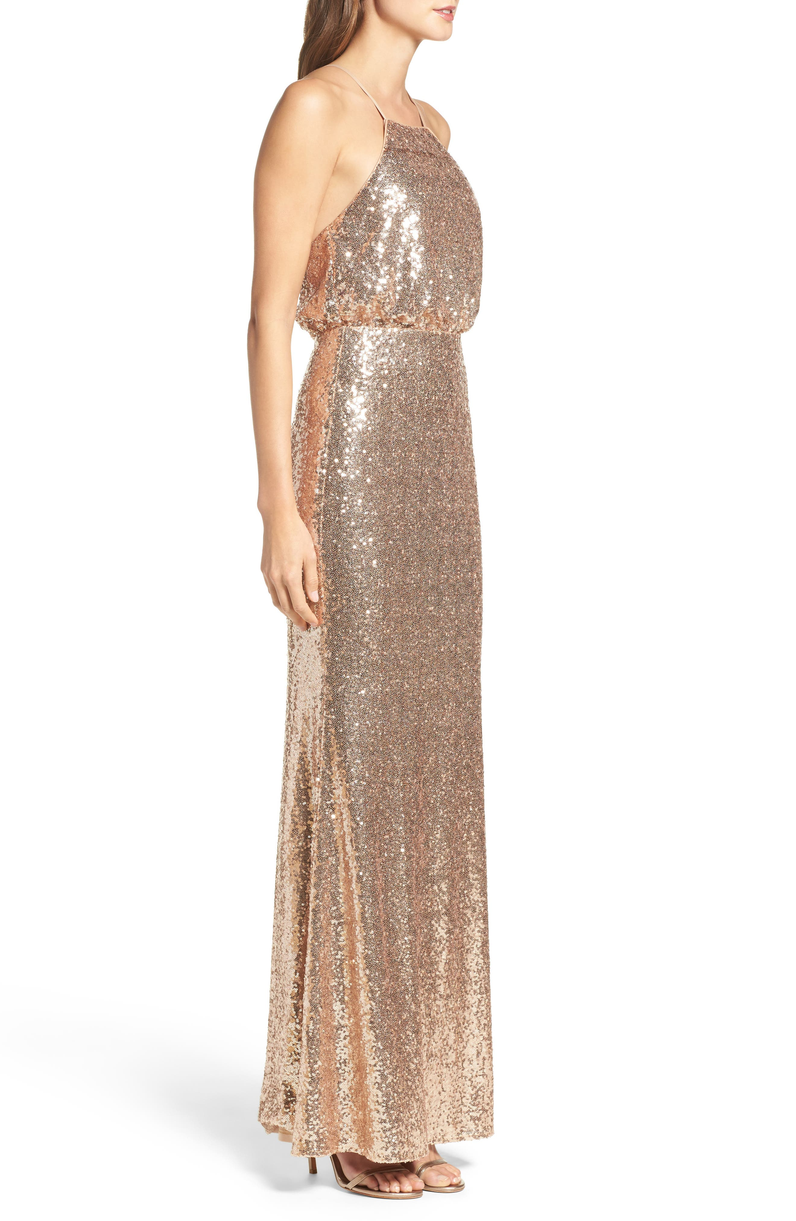 Strappy Sequin Blouson Gown,                             Alternate thumbnail 3, color,                             Gold