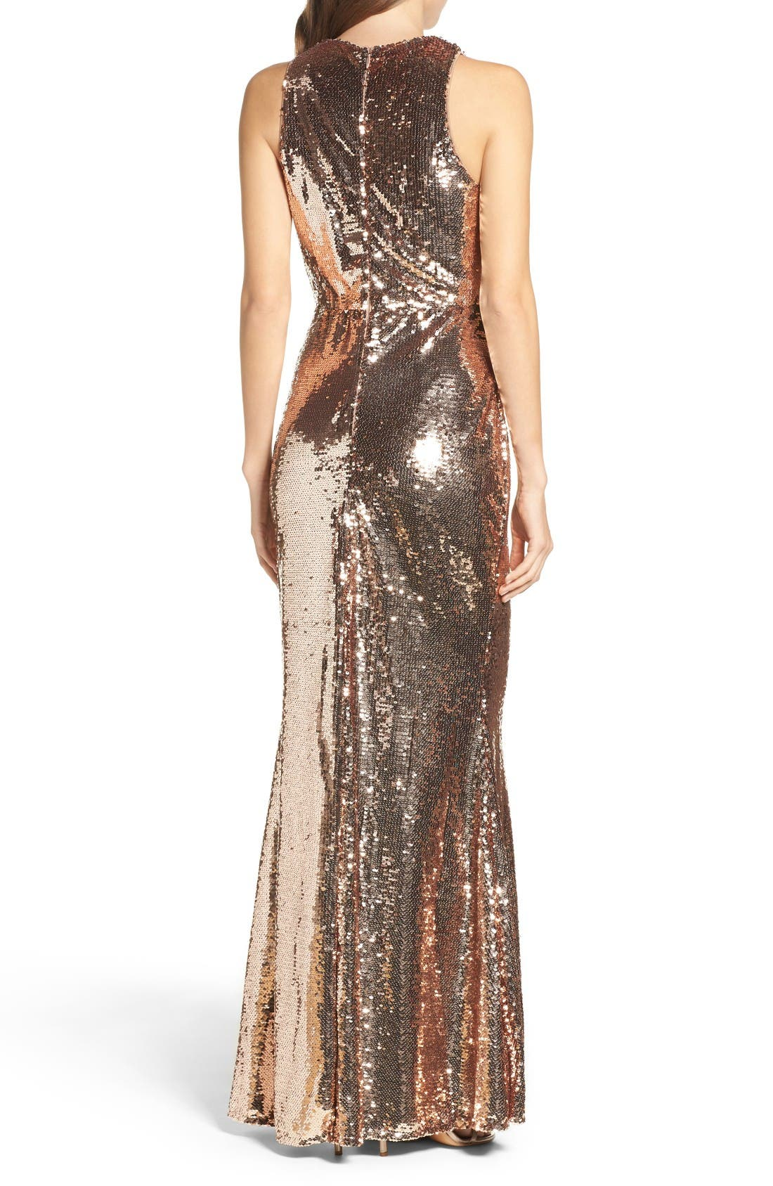 Sequin Mermaid Gown,                             Alternate thumbnail 2, color,                             Rose Gold