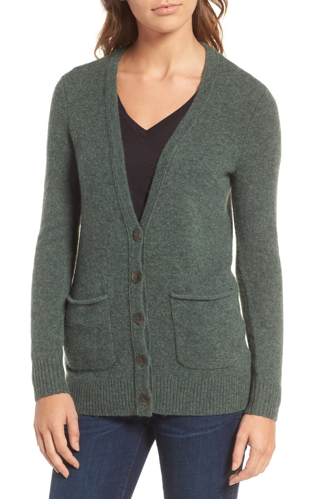 Cozy Boyfriend Cardigan,                             Alternate thumbnail 4, color,                             Heather Evergreen