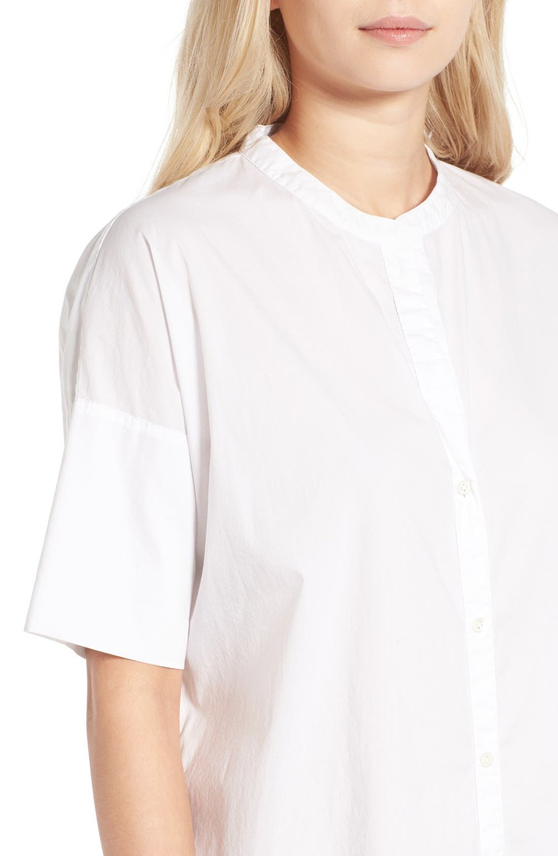 Rolled Sleeve Shirtdress,                             Alternate thumbnail 4, color,                             White