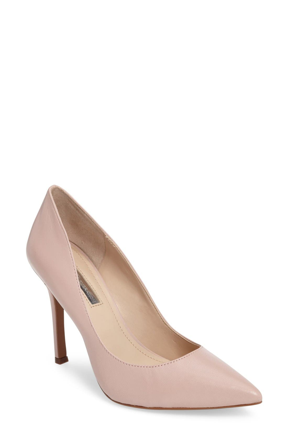 'Treasure' Pointy Toe Pump,                             Main thumbnail 1, color,                             Bare Pink Leather