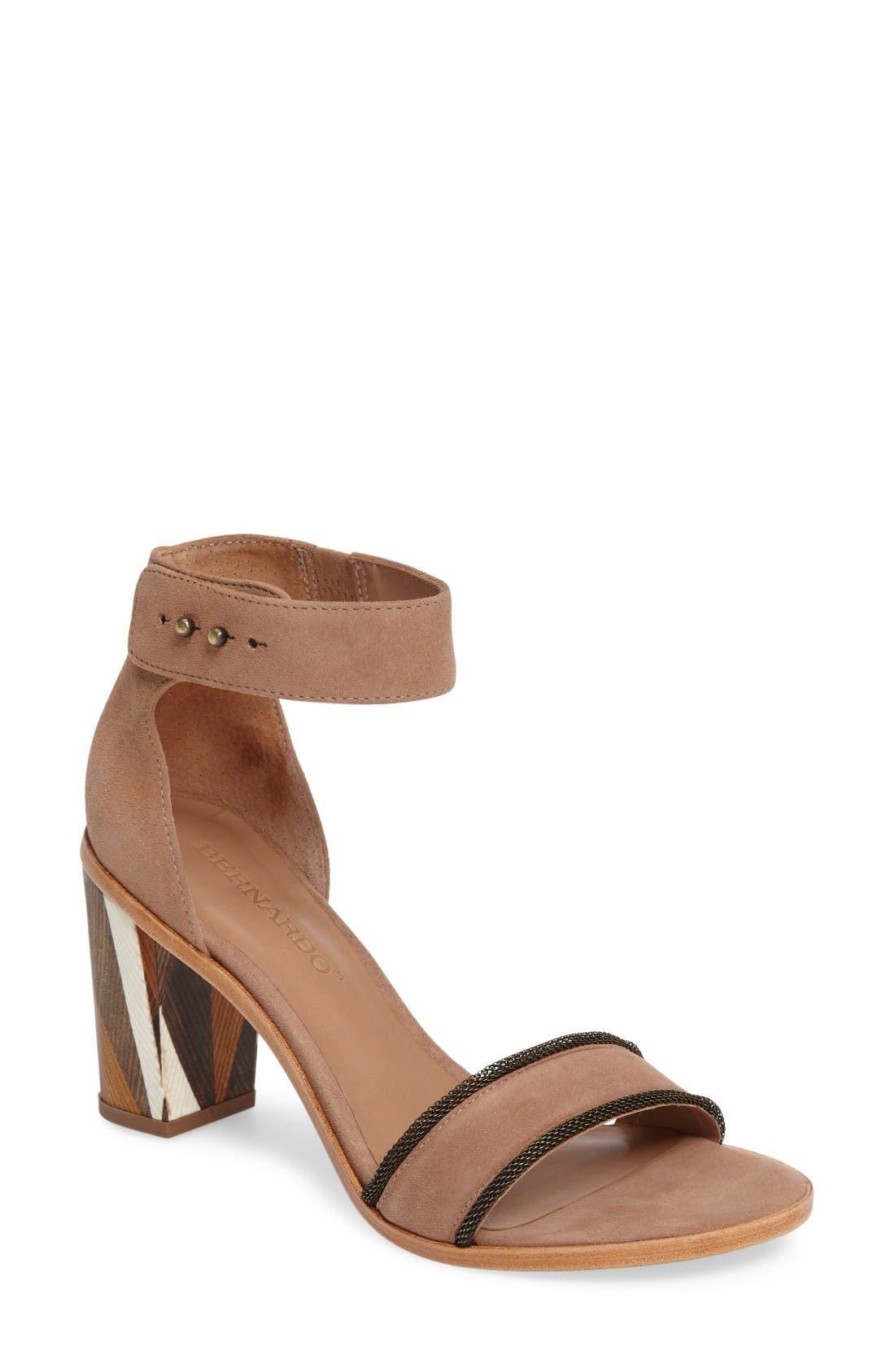 Bernardo Hayden Ankle Strap Sandal,                         Main,                         color, Sand Suede