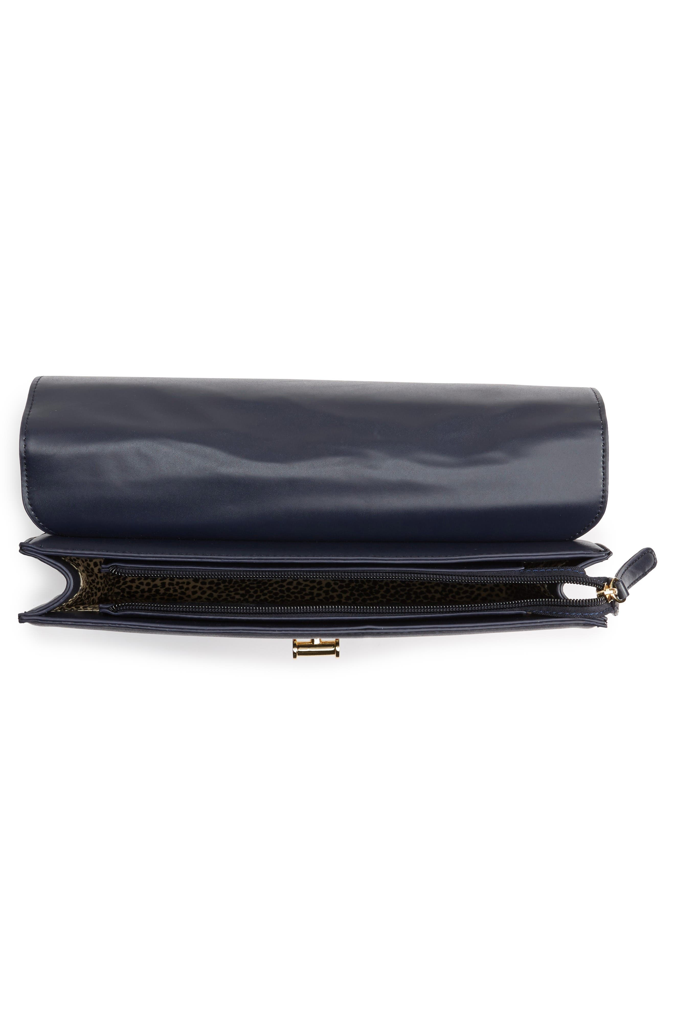 Kaitlyn Faux Leather Clutch,                             Alternate thumbnail 4, color,                             Navy