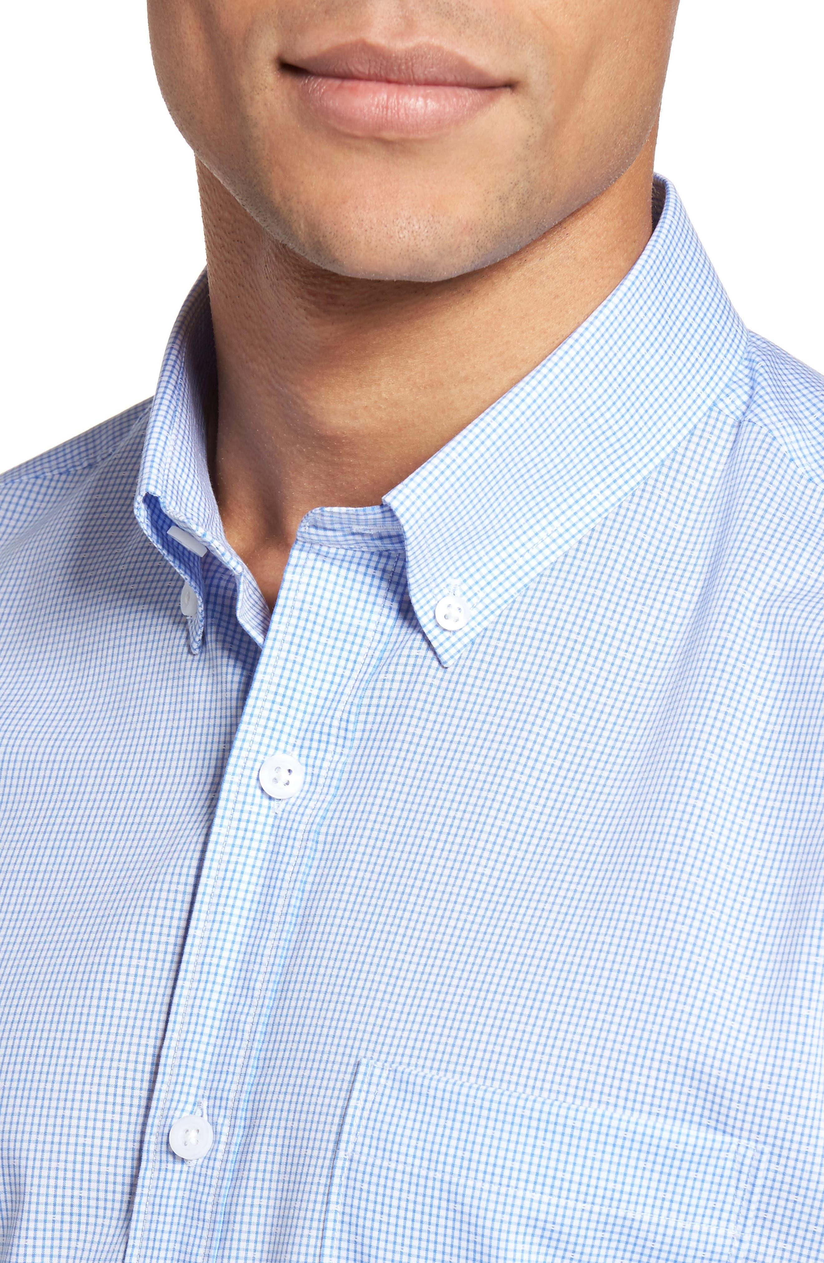 Alternate Image 4  - Nordstrom Men's Shop Trim Fit Non-Iron Dobby Check Sport Shirt (Regular & Tall)
