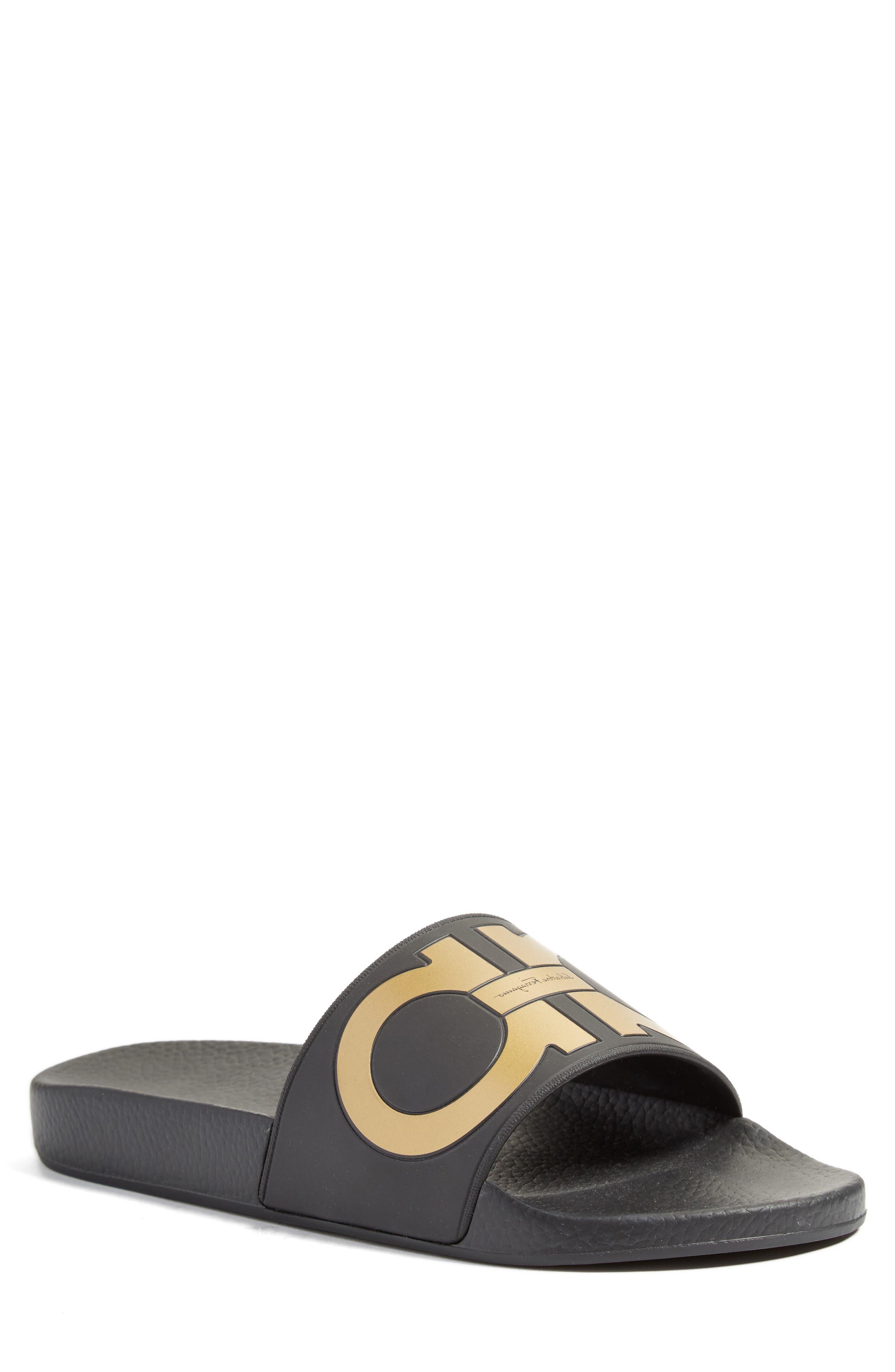 Groove Slide Sandal,                         Main,                         color, Nero
