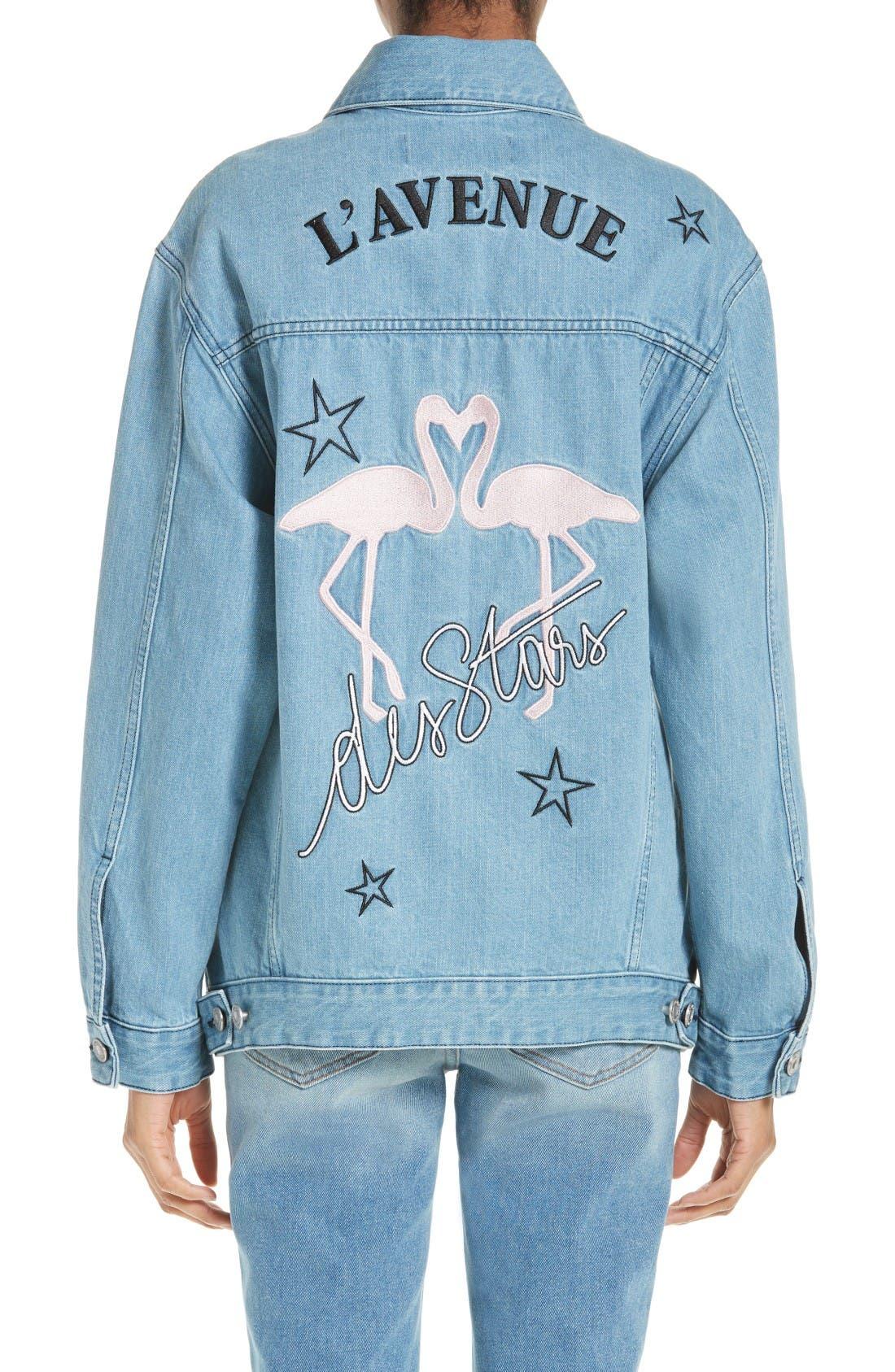 Alternate Image 2  - être cécile L'Avenue des Stars Embroidered Denim Jacket