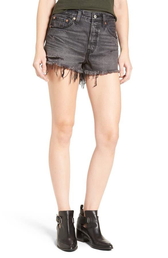 Levi's® 501® Cutoff Denim Shorts (Slashed Black)   Nordstrom