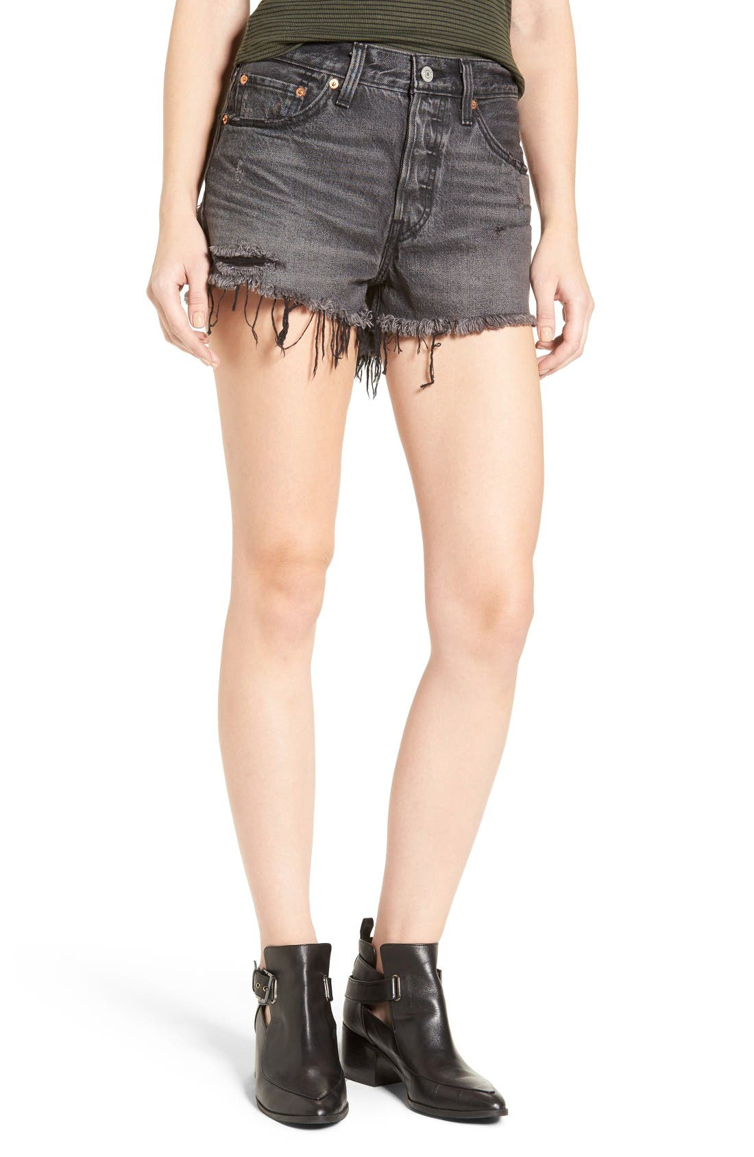 Levi's® 501® Cutoff Denim Shorts (Slashed Black)