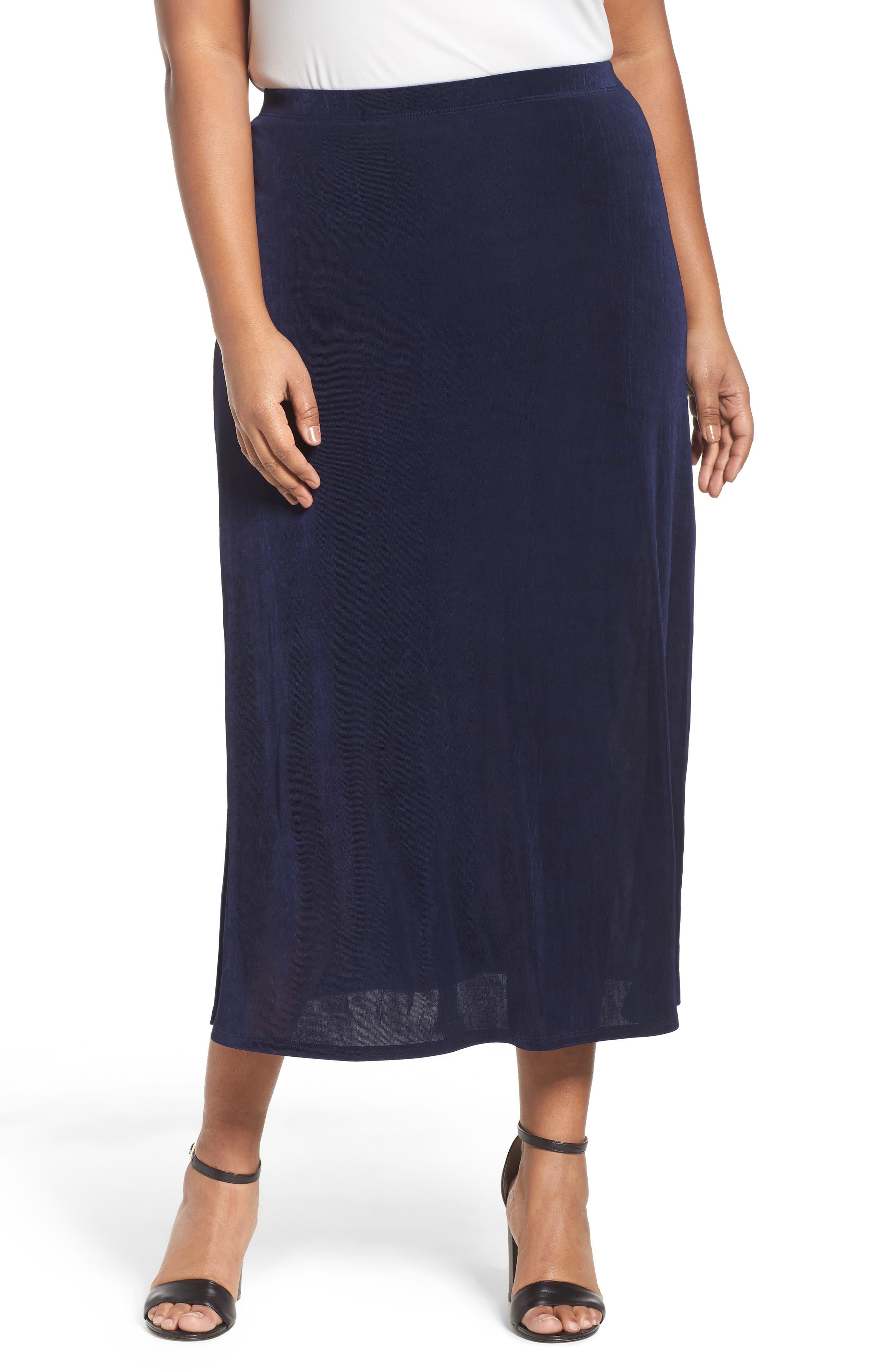 Long A-Line Skirt,                         Main,                         color, Navy