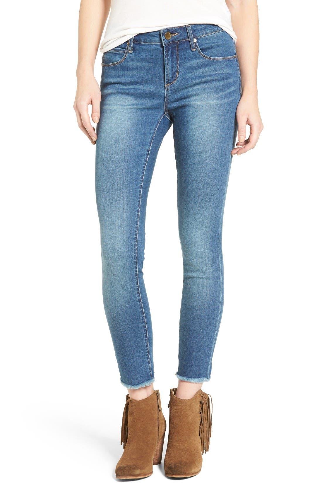 Light blue ankle skinny jeans