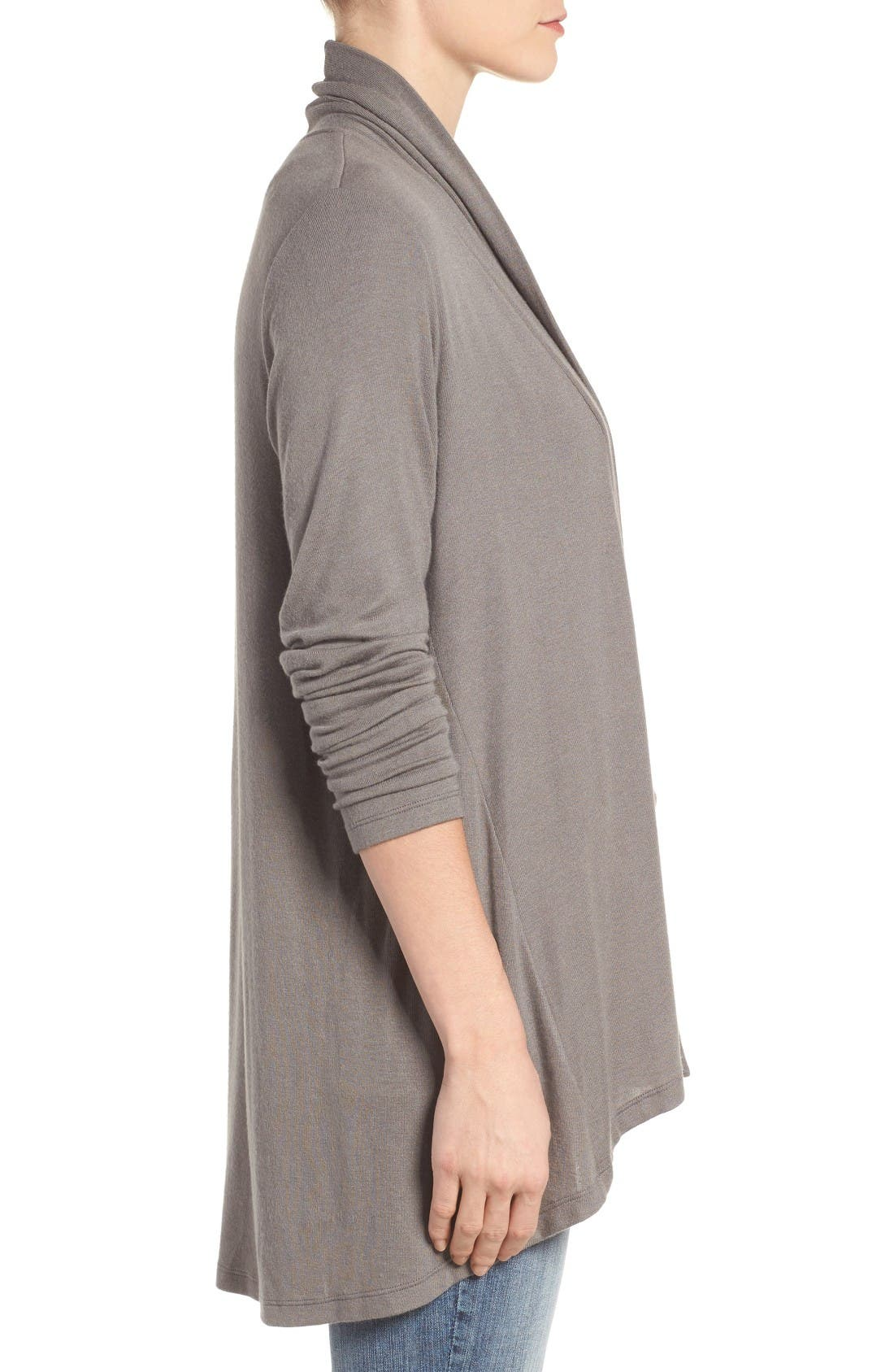 Alternate Image 3  - Bobeau High/Low Jersey Cardigan (Regular & Petite)