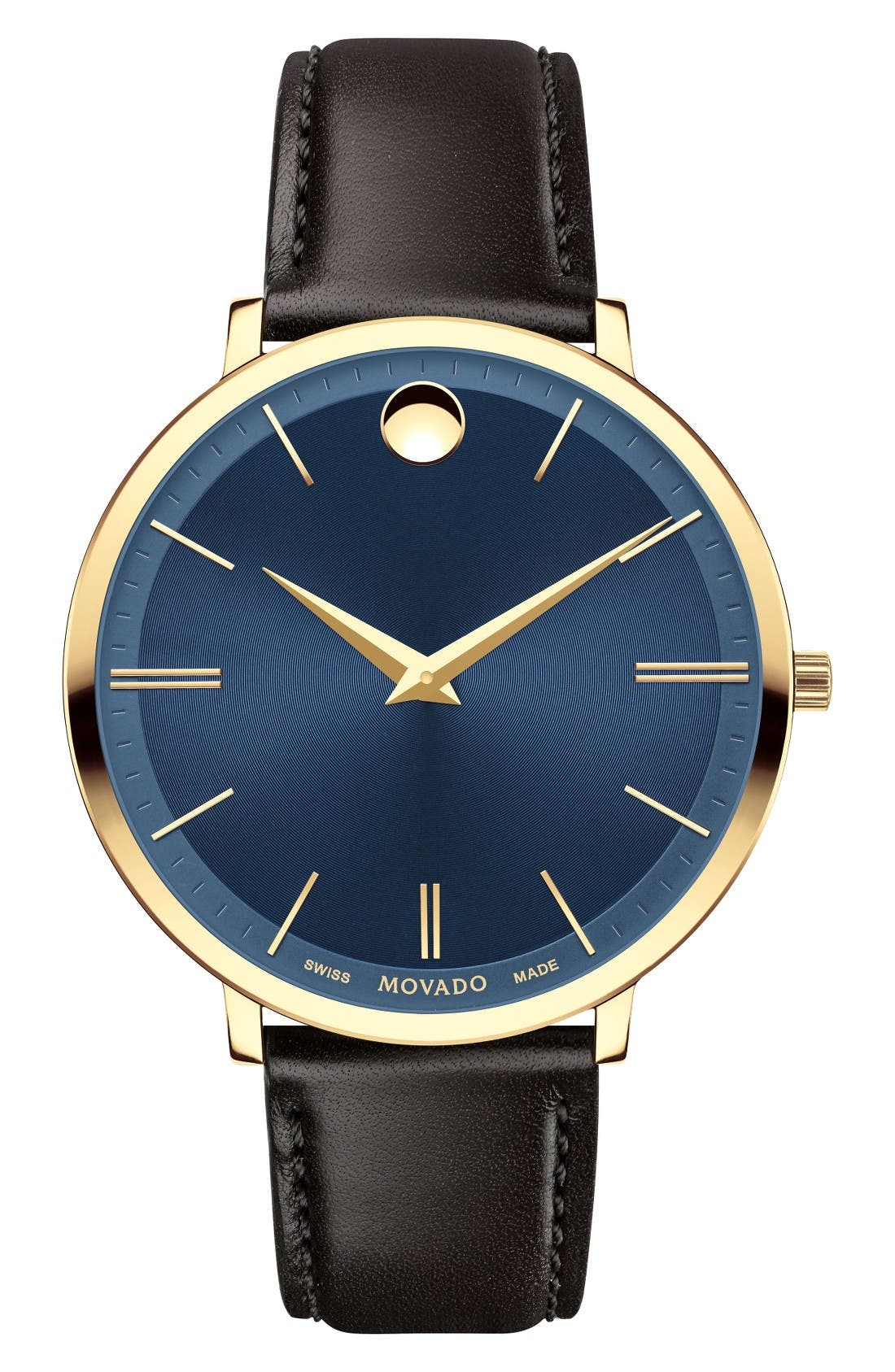 Ultra Slim Leather Strap Watch, 35mm,                         Main,                         color, Brown/ Blue/ Gold