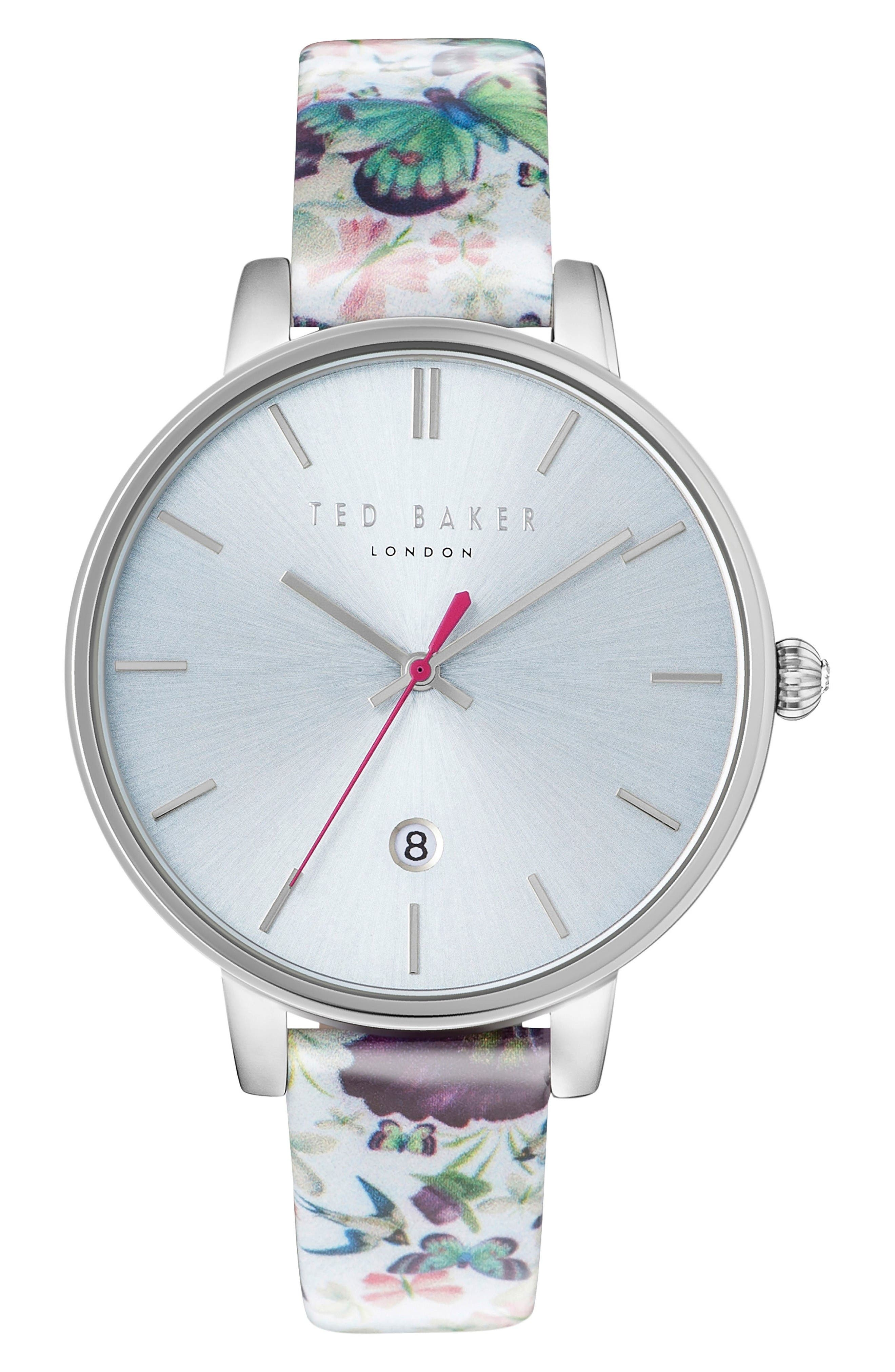 Kate Round Leather Strap Watch, 38mm,                             Main thumbnail 1, color,                             Floral/ Light Blue/ Silver