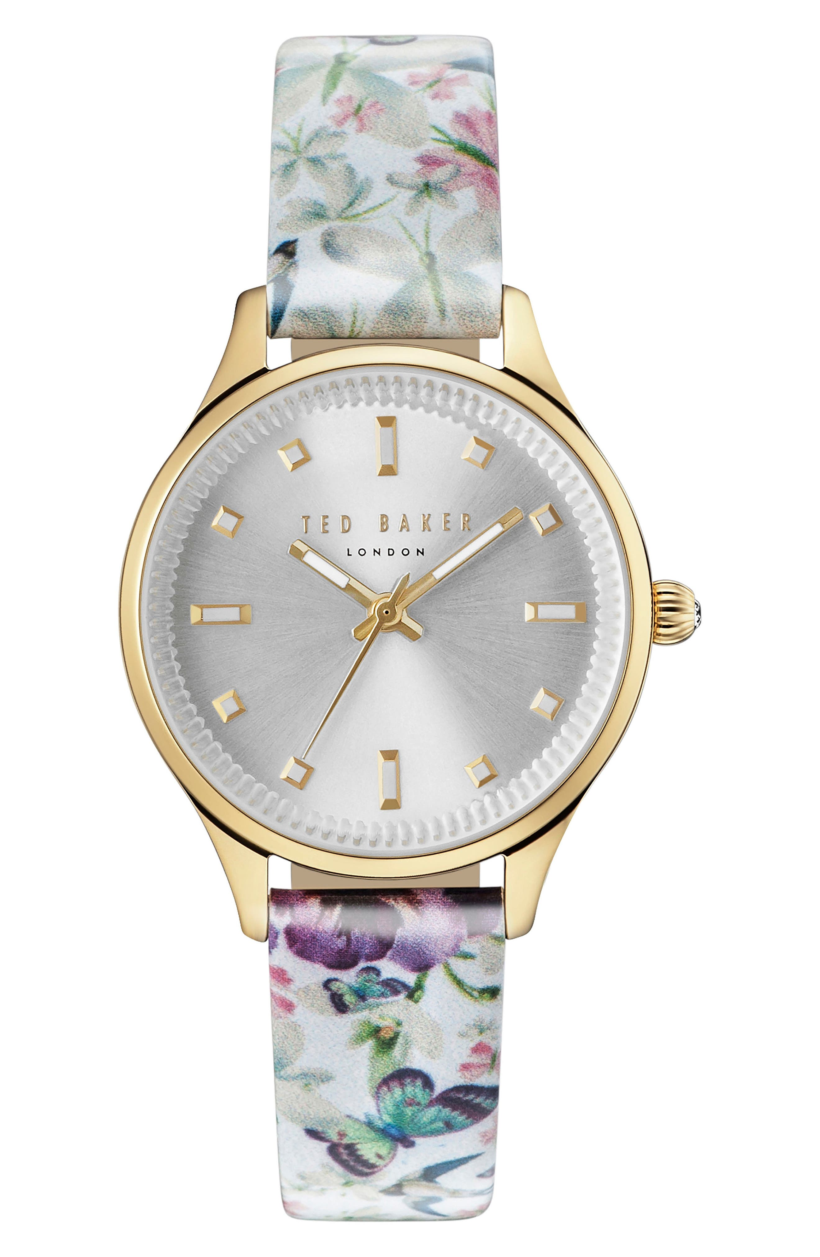 Zoe Round Leather Strap Watch, 32mm,                         Main,                         color, Floral/ Silver/ Gold