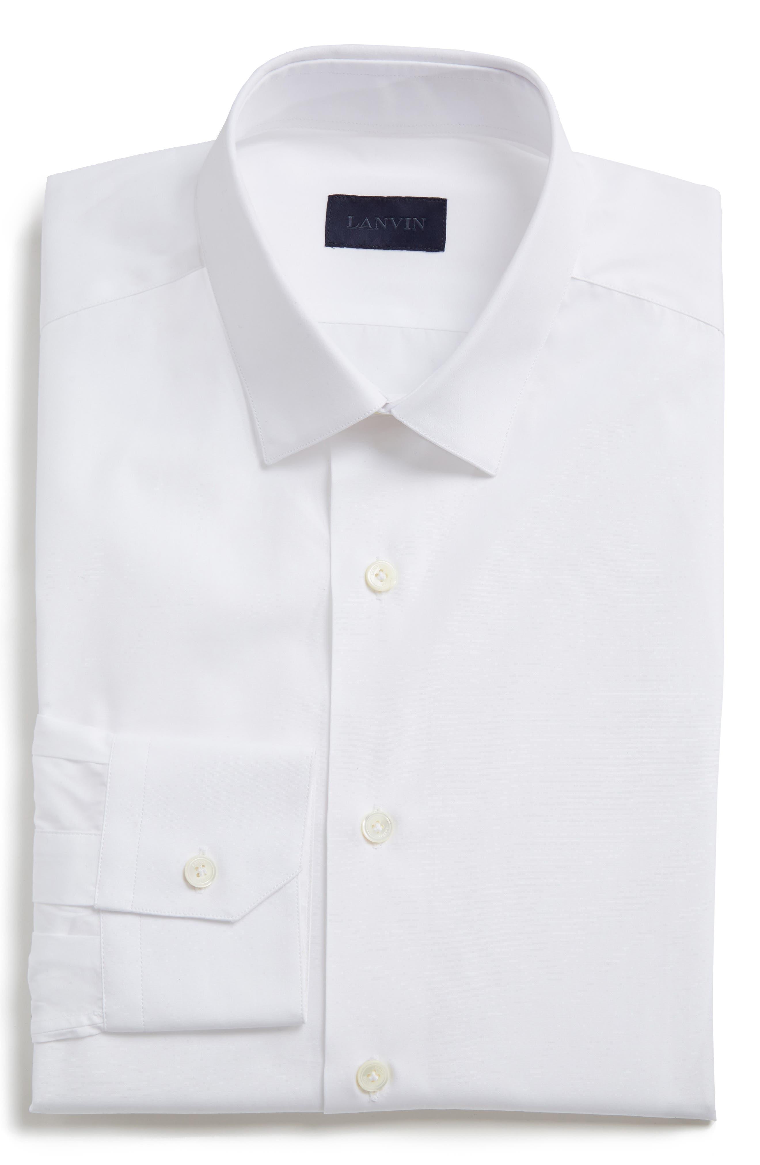 Extra Trim Fit Cotton Dress Shirt,                         Main,                         color, White