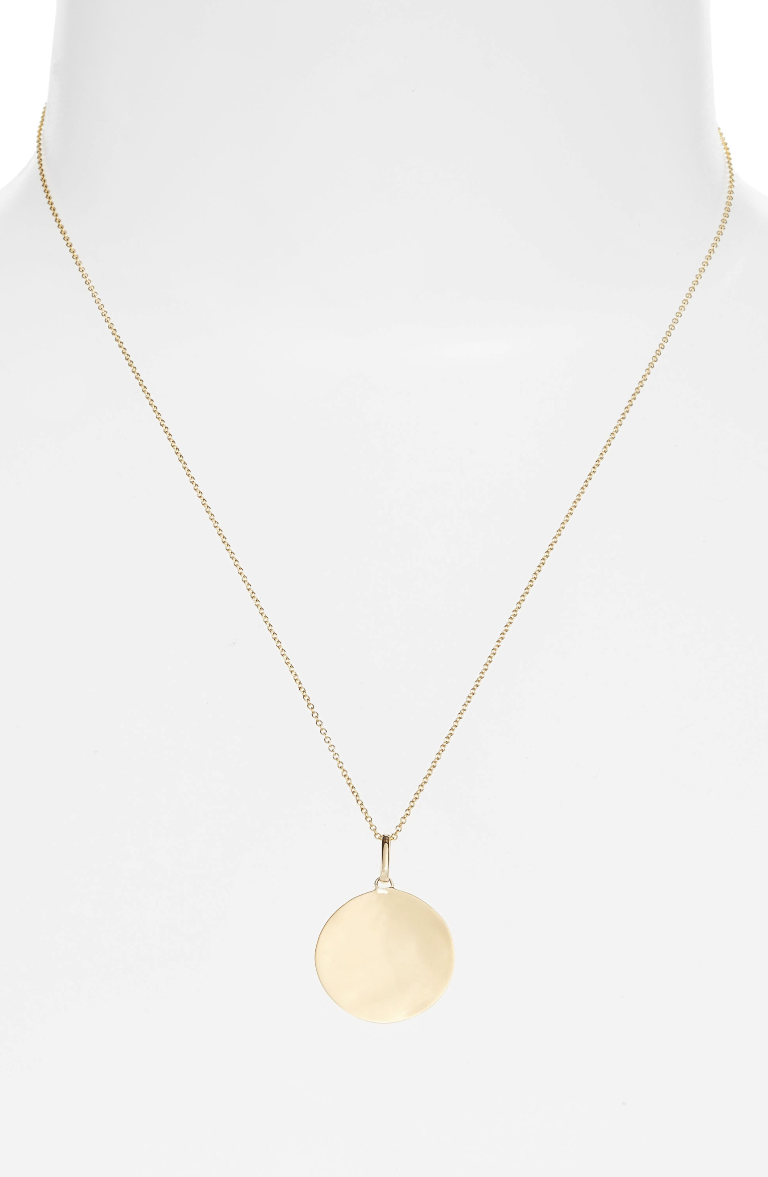 Concave Large Pendant Necklace,                         Main,                         color, Yellow Gold