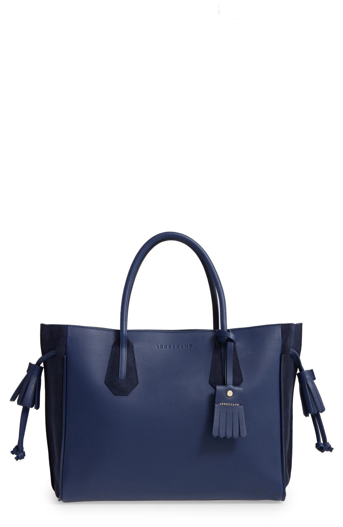 'Medium Penelope Fantasie' Leather Tote,                             Main thumbnail 1, color,                             Blue