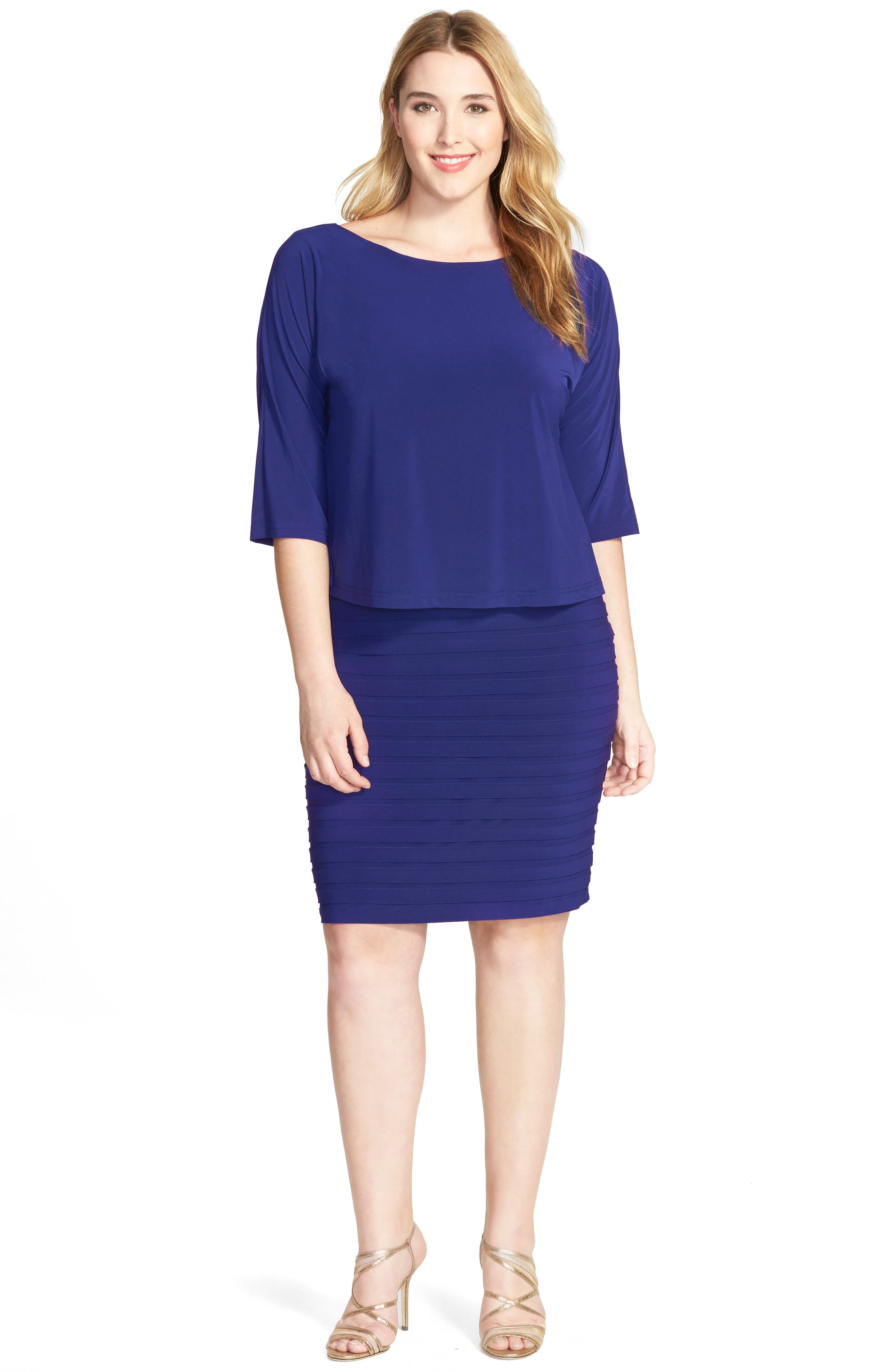 Adrianna Papell Shutter Pleat Popover Sheath Dress (Plus Size)