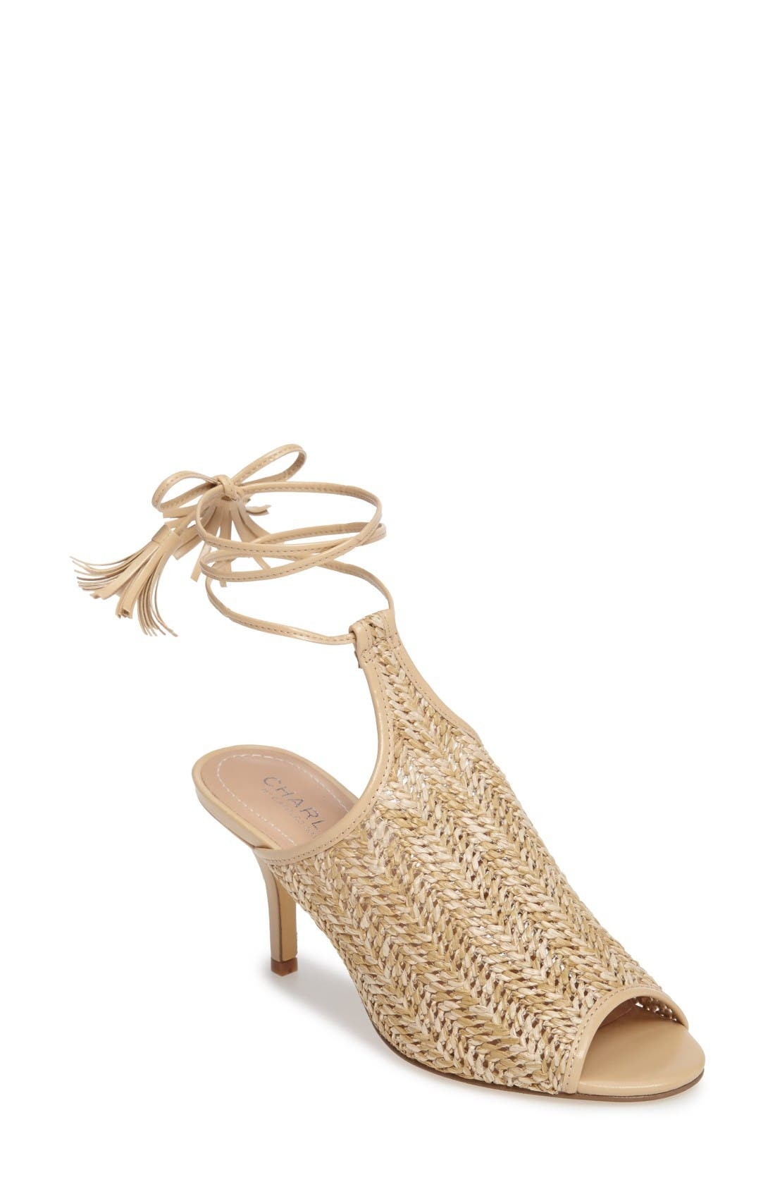 Niko Ankle Tie Sandal,                             Main thumbnail 1, color,                             Natural Basket Woven Fabric
