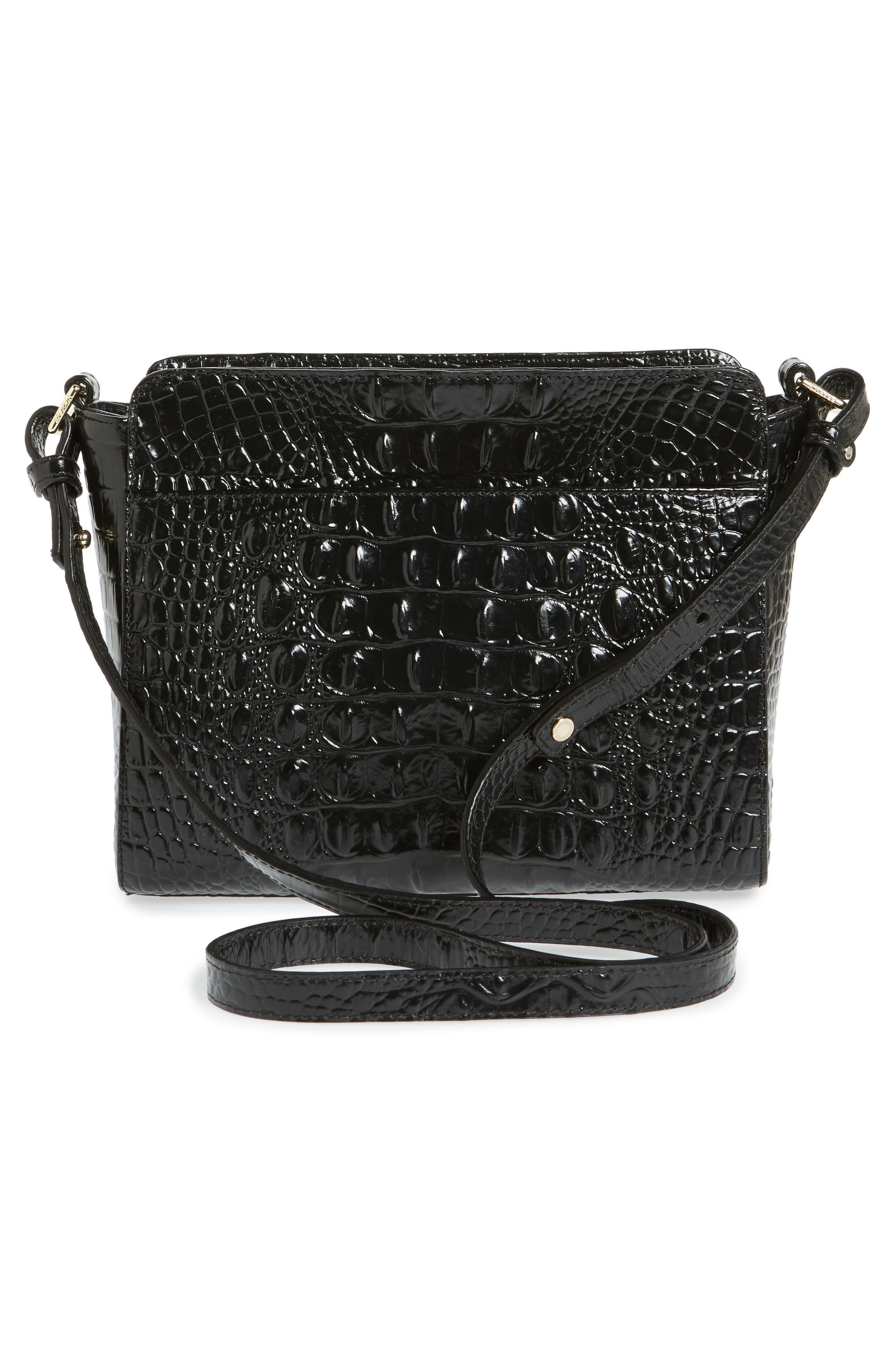 Melbourne Carrie Leather Crossbody Bag,                             Alternate thumbnail 4, color,                             Black