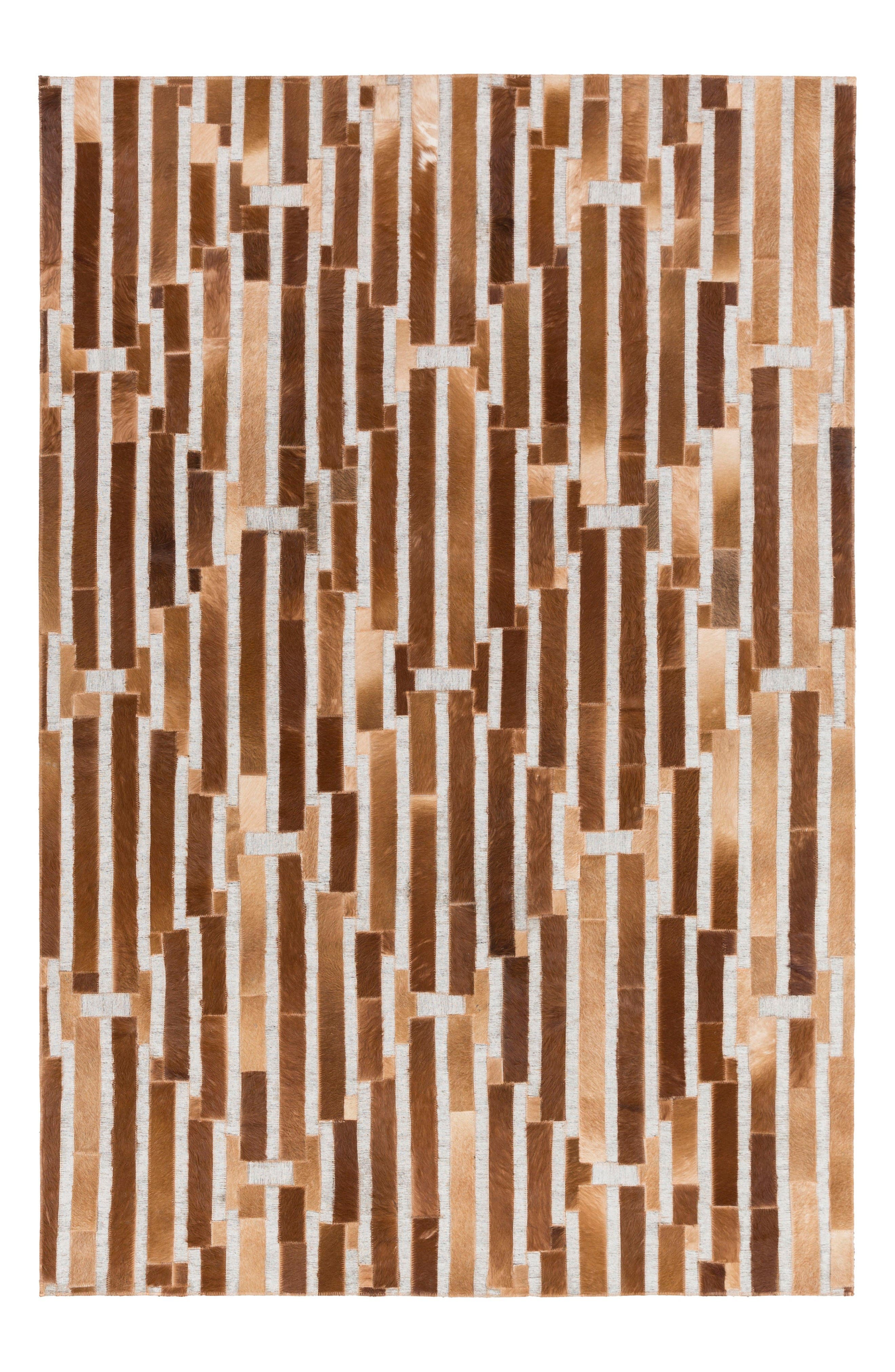 Medora Irregular Hand Stitched Rug,                             Main thumbnail 1, color,                             Brown