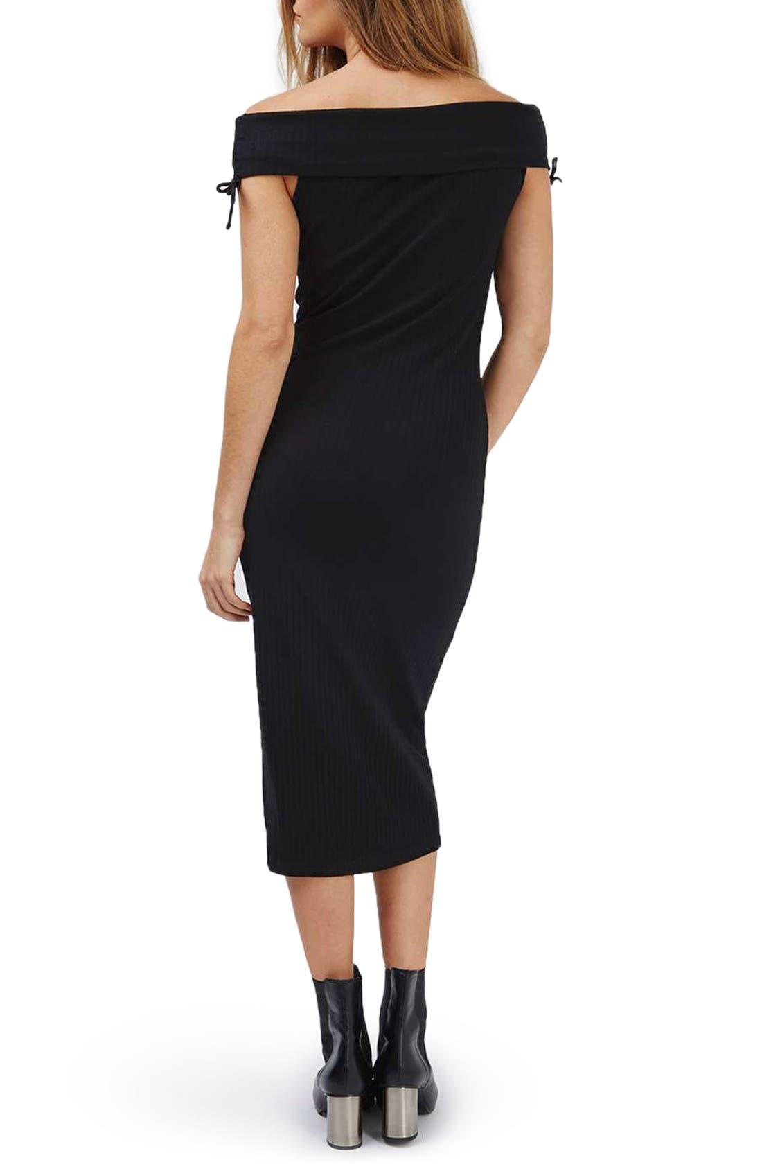 Alternate Image 2  - Topshop Bardot Ribbed Midi Dress