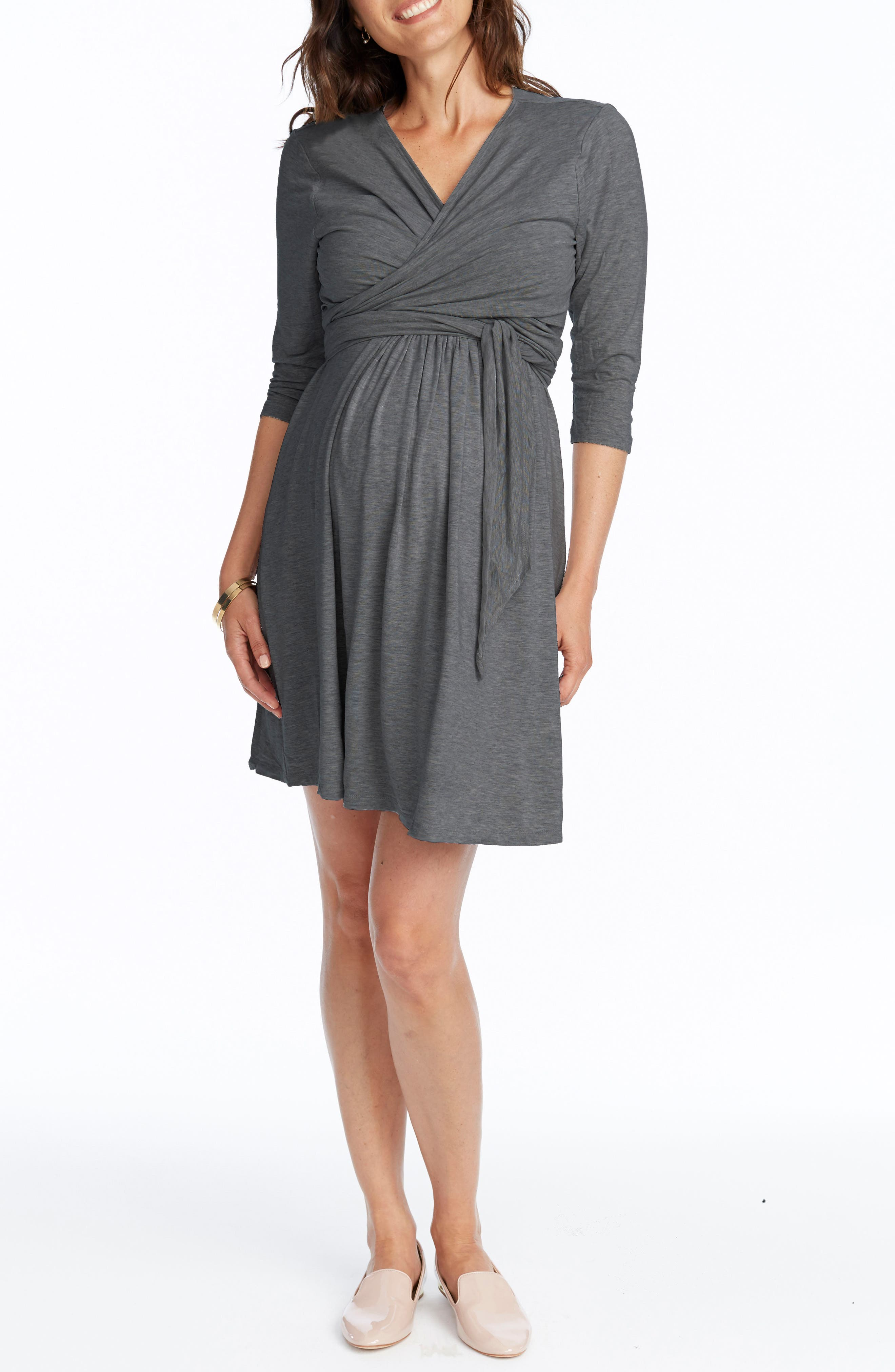Maternity/Nursing Wrap Dress,                         Main,                         color, Heather Grey