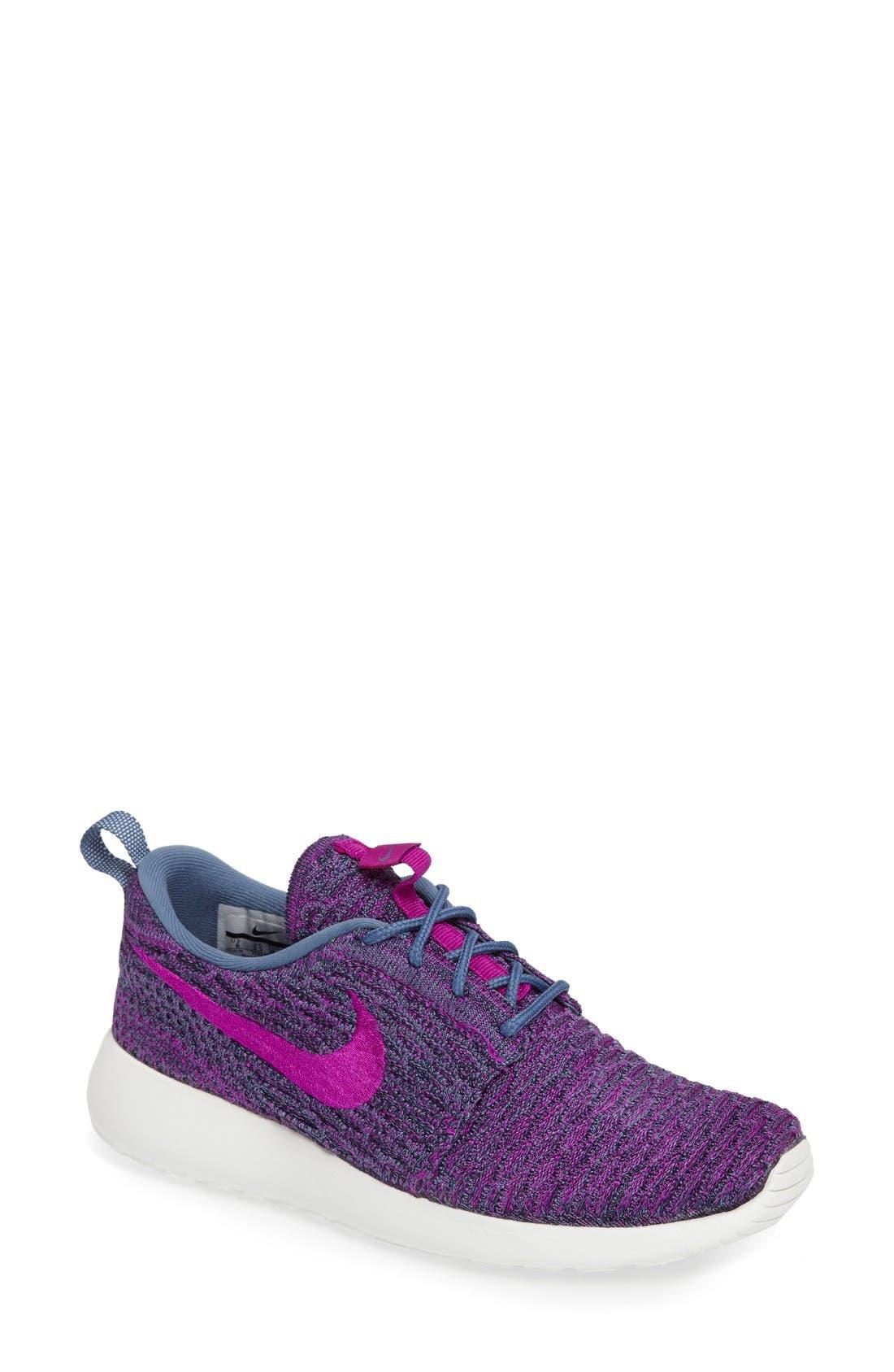FlyKnit Roshe Run Sneaker,                             Main thumbnail 1, color,                             Ocean Fog/ Vivid Purple