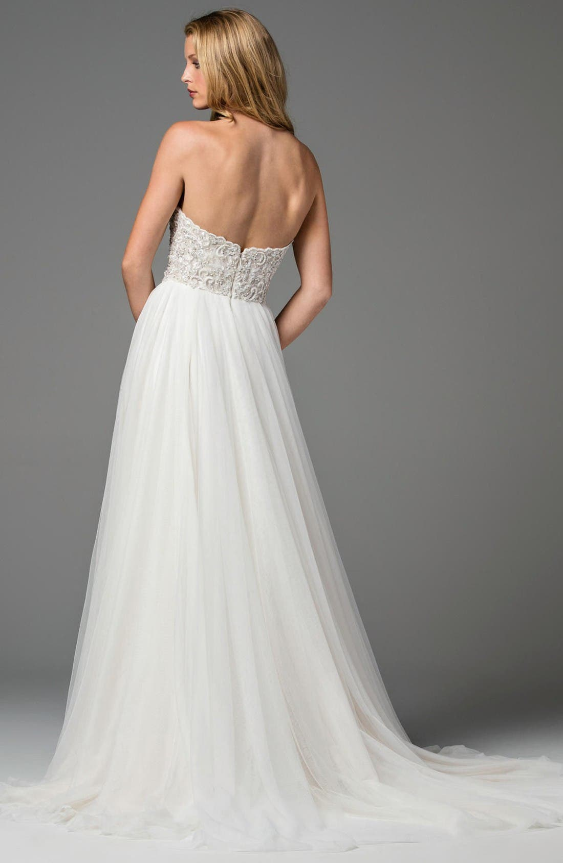 Rosina Embellished Strapless Lace & Tulle A-Line Gown,                             Alternate thumbnail 2, color,                             Reisling