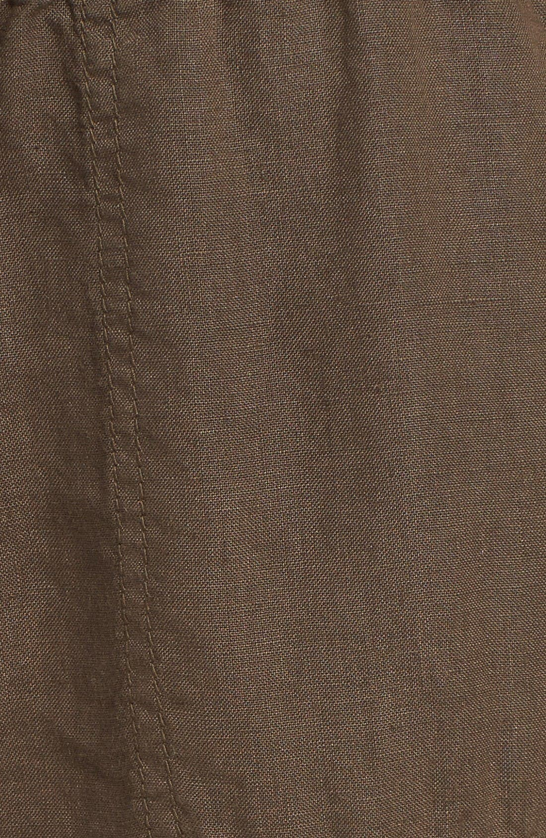 Crop Linen Joggers,                             Alternate thumbnail 6, color,                             Olive Tuscan