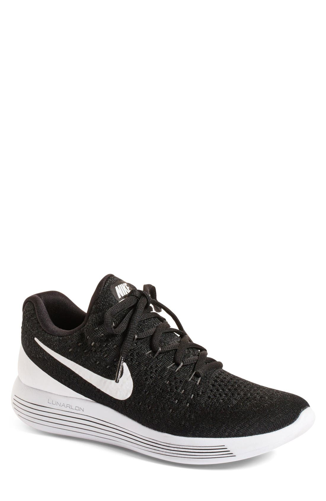 Flyknit 2 LunarEpic Running Shoe,                             Main thumbnail 1, color,                             Black/ White/ Anthracite