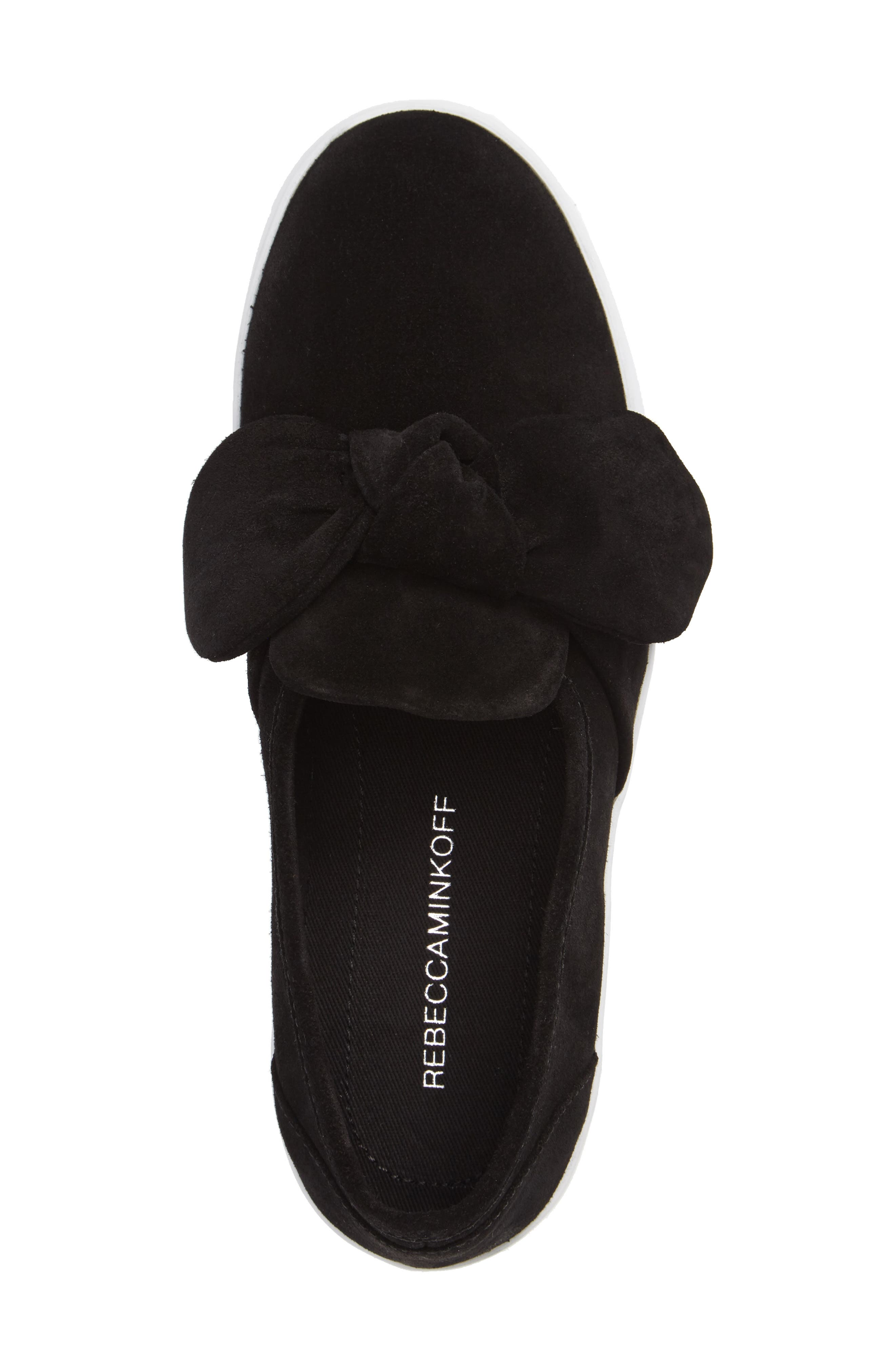 Stacey Bow Platform Sneaker,                             Alternate thumbnail 3, color,                             Black Oiled Suede